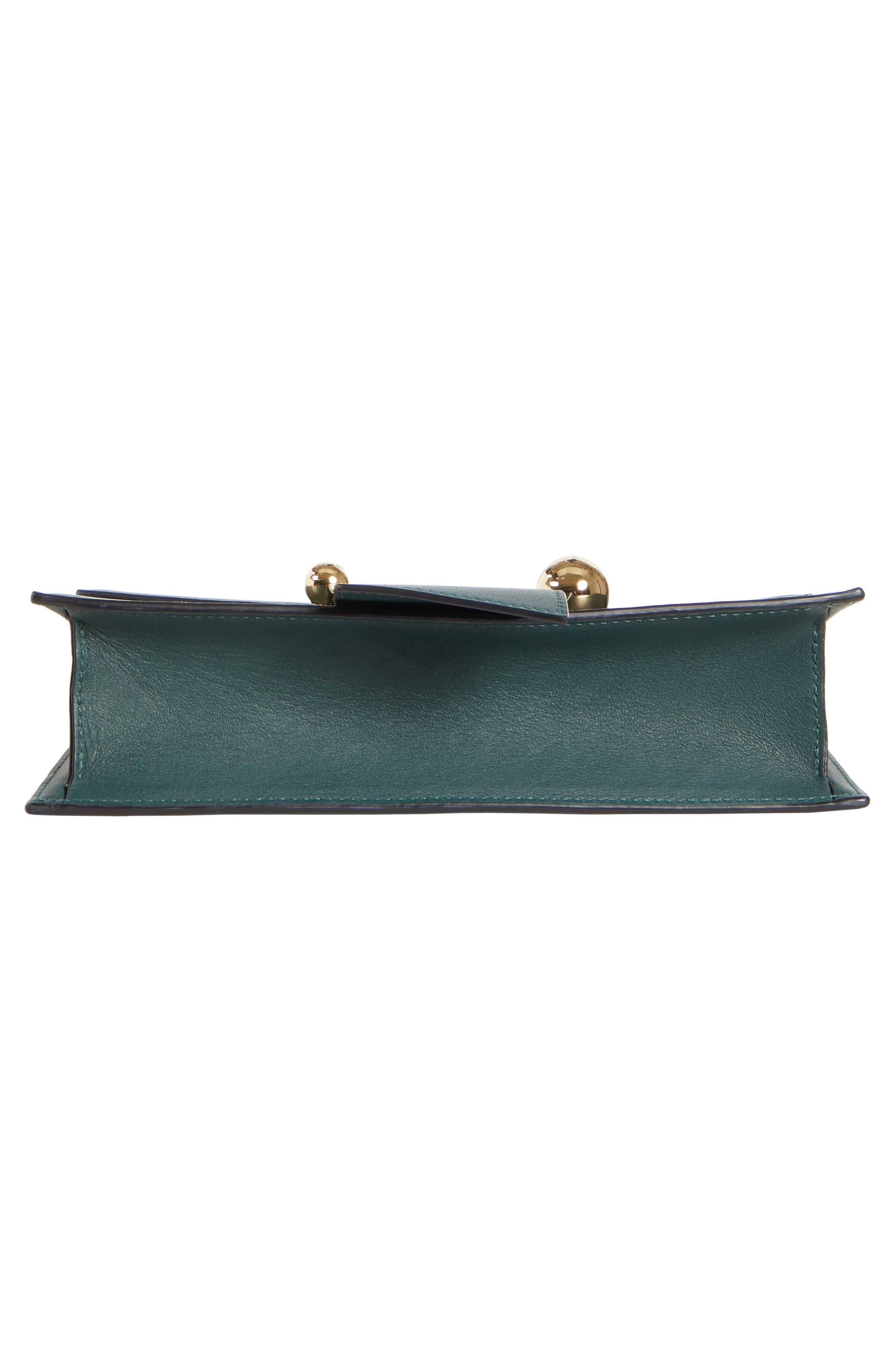 Mini Crescent Leather Clutch,                             Alternate thumbnail 7, color,                             BOTTLE GREEN