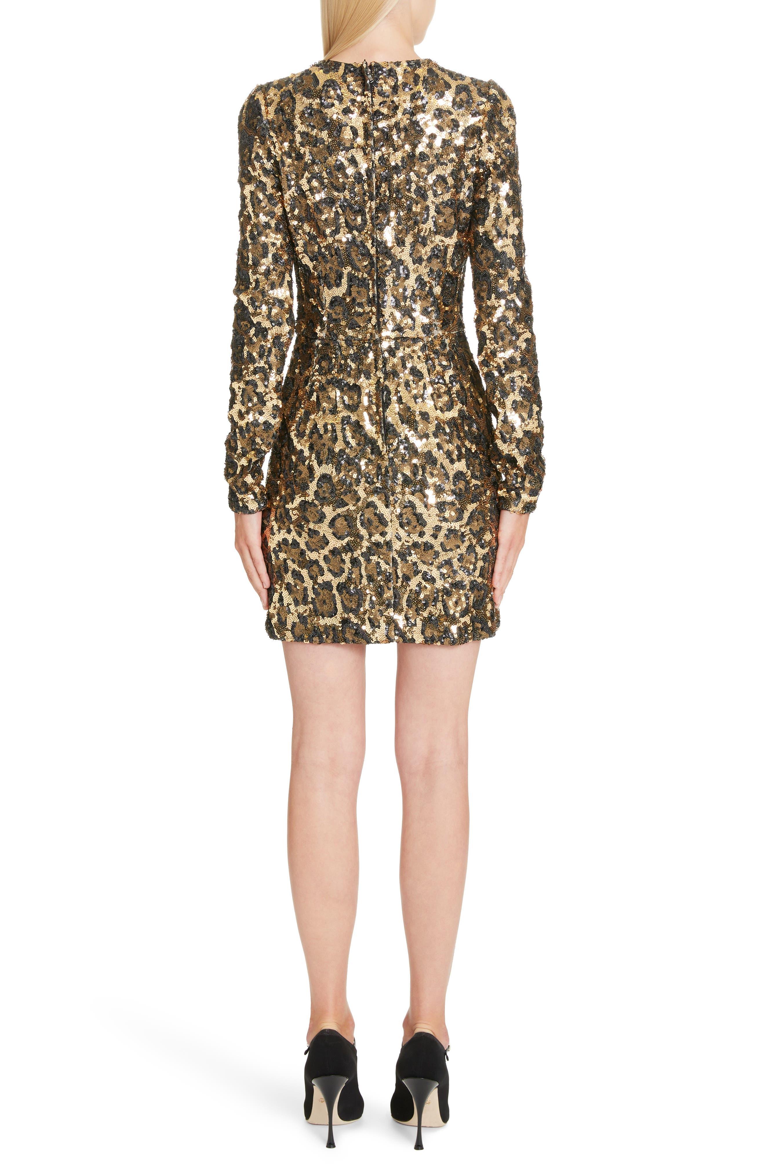 Sequin Leopard Print Sheath Dress,                             Alternate thumbnail 2, color,                             S0905 LEO