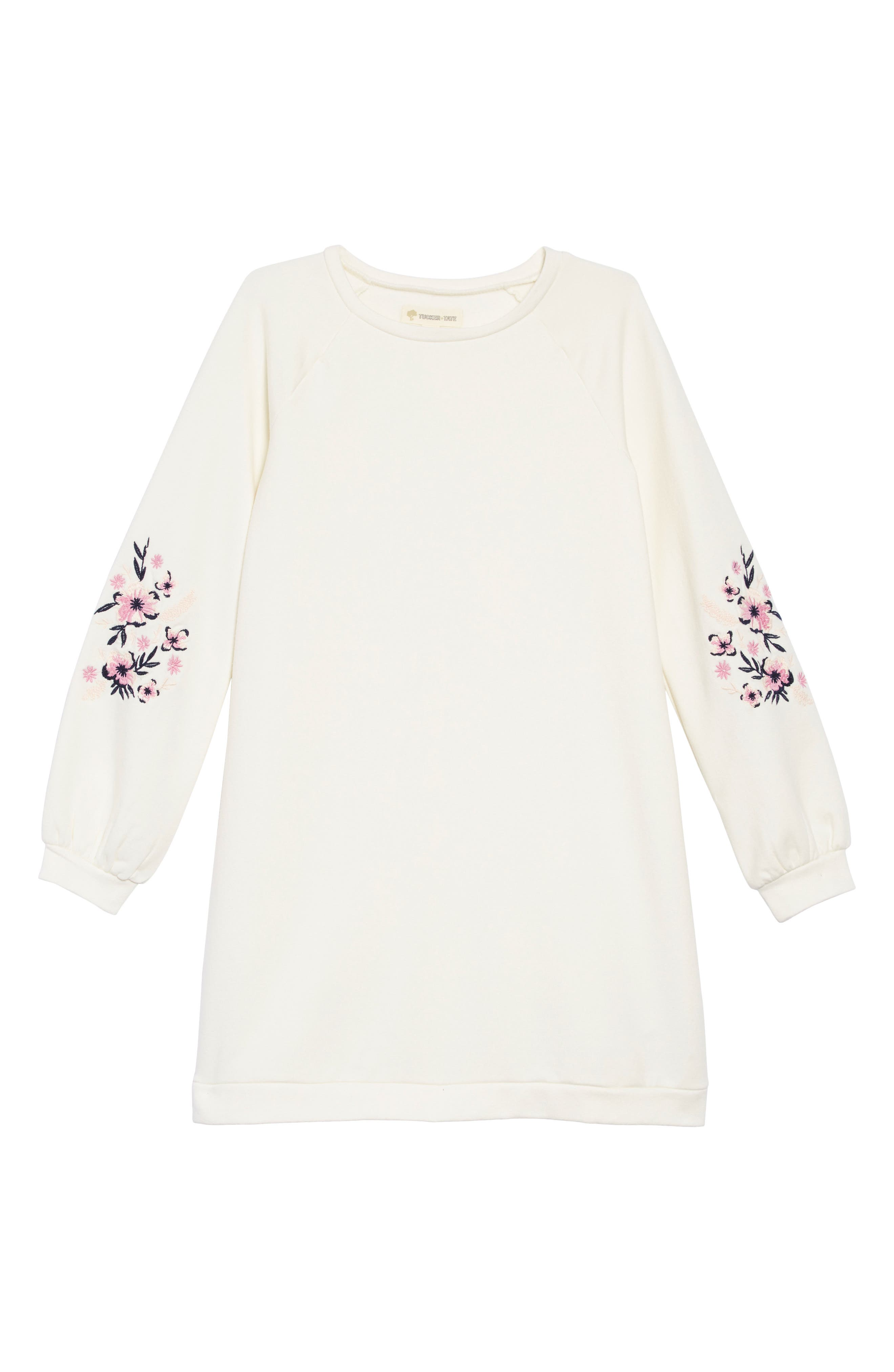Embroidered Sleeve Sweatshirt Dress,                         Main,                         color, IVORY EGRET