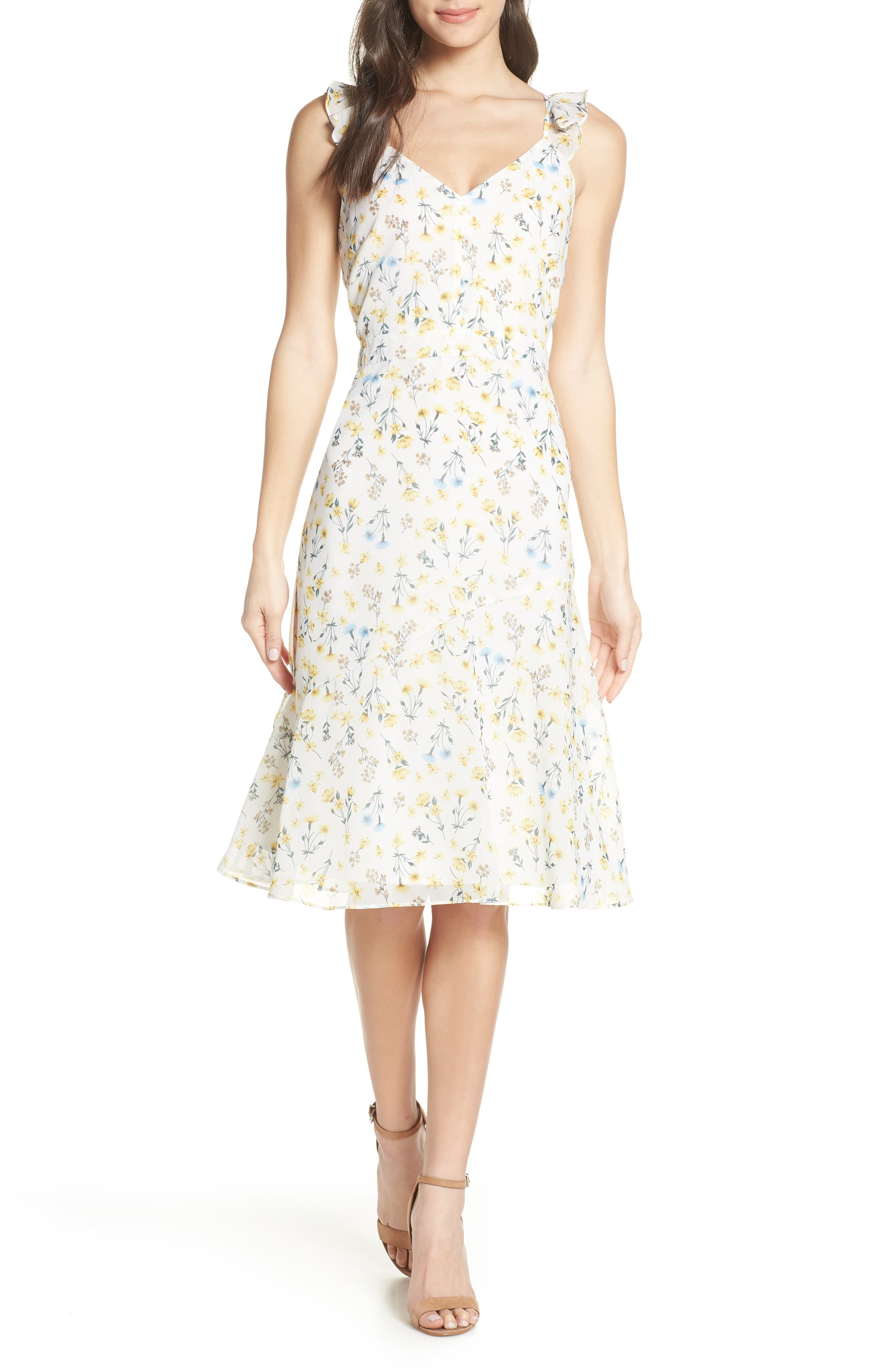 Sam Edelman Floral Georgette Dress, Ivory