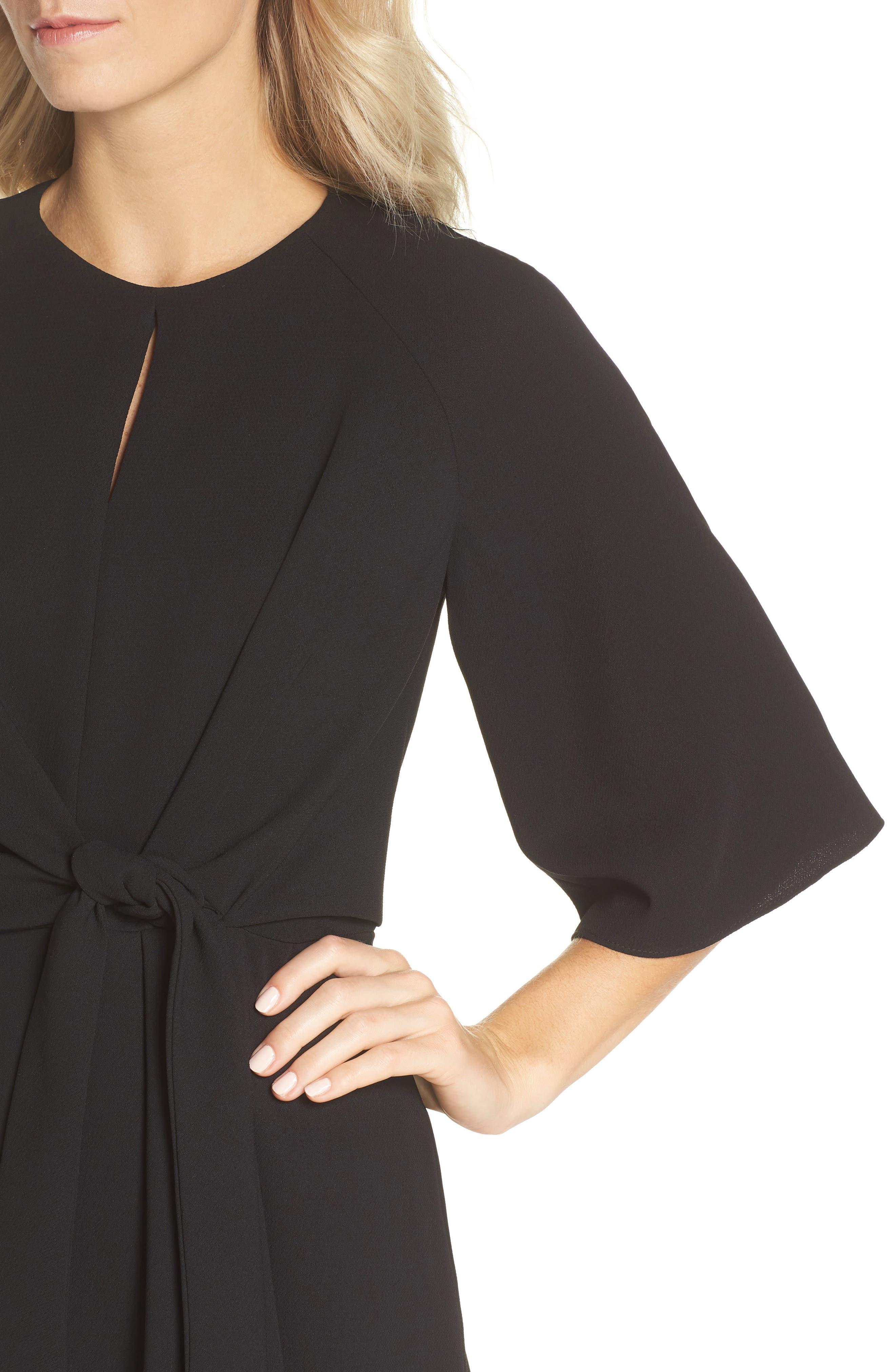 Tie Front Crepe Dress,                             Alternate thumbnail 4, color,                             BLACK