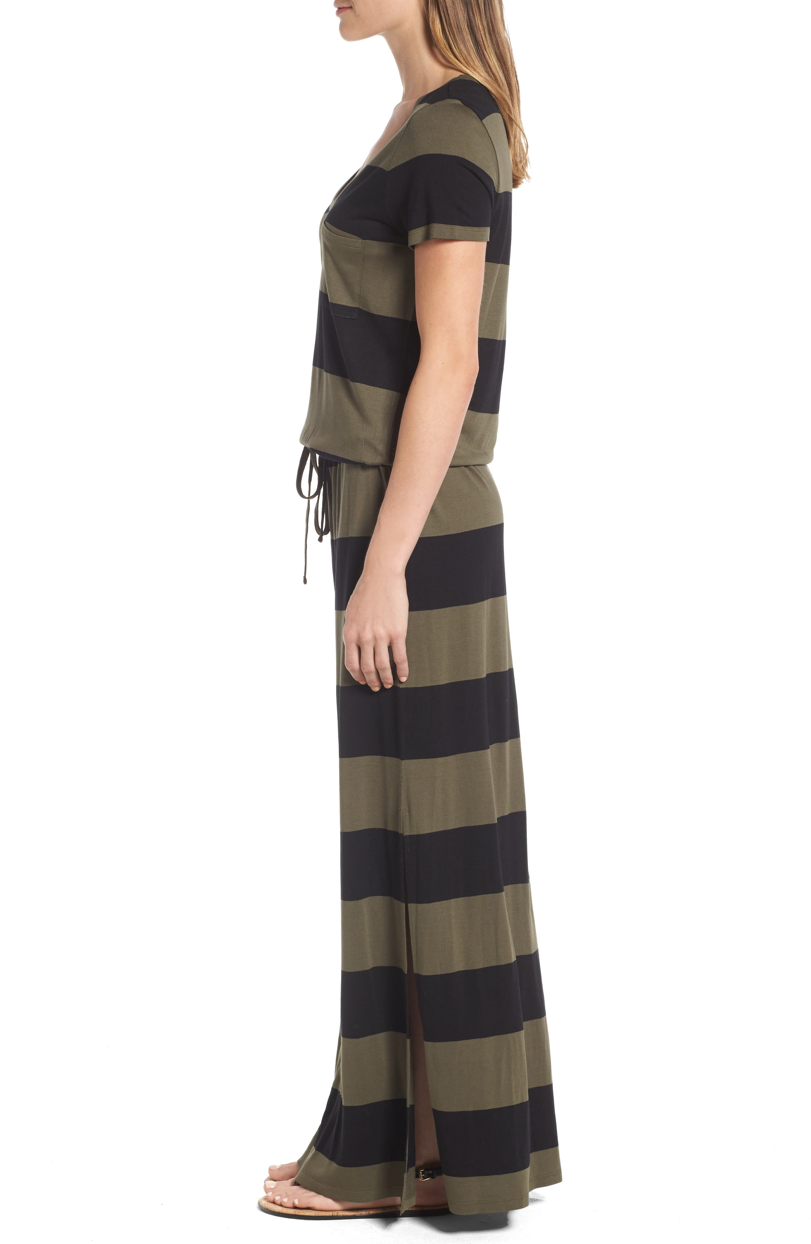 Drawstring V-Neck Jersey Maxi Dress,                             Alternate thumbnail 27, color,
