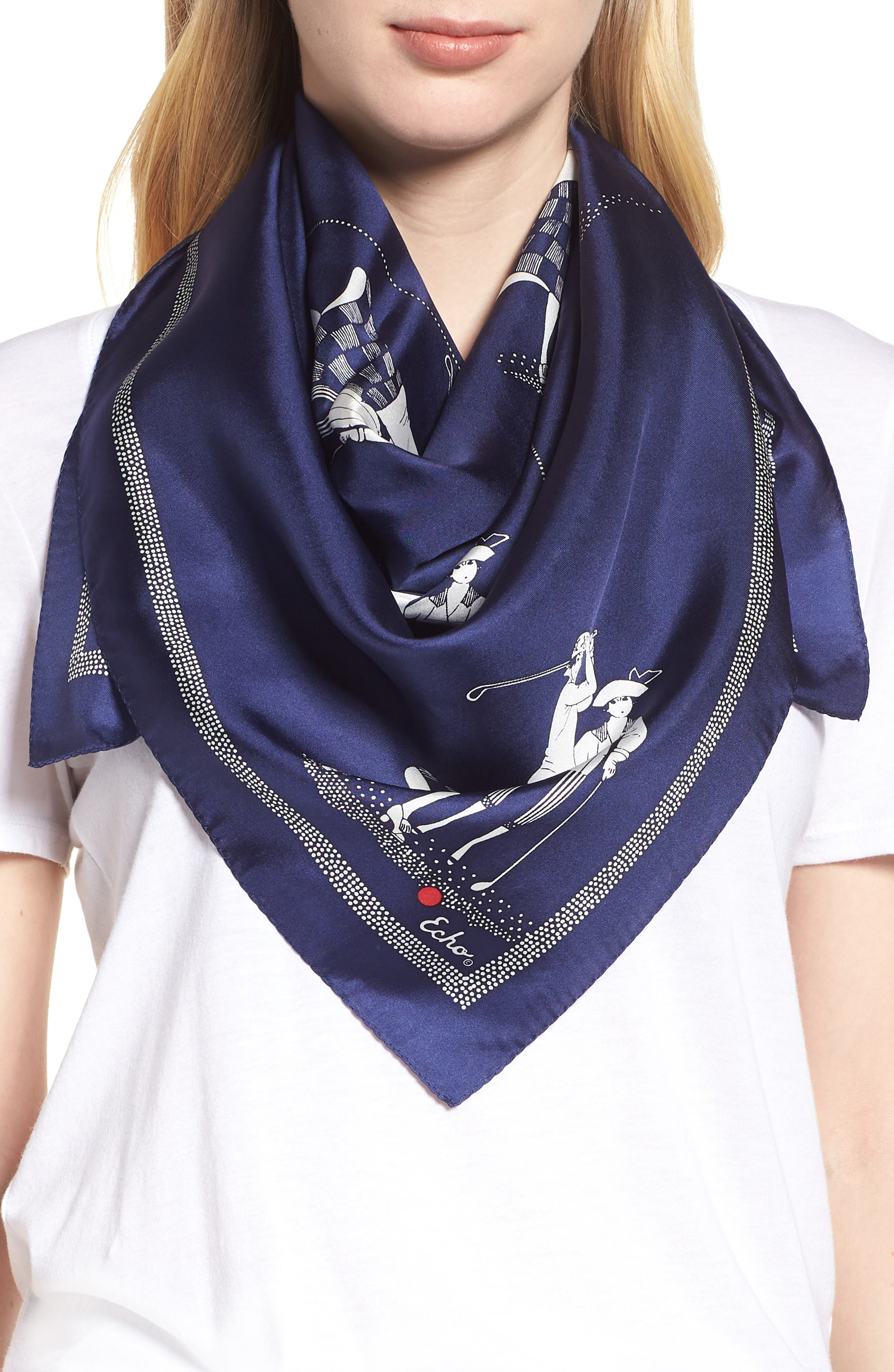 Golf Day Square Silk Scarf,                             Main thumbnail 1, color,                             MARITIME NAVY