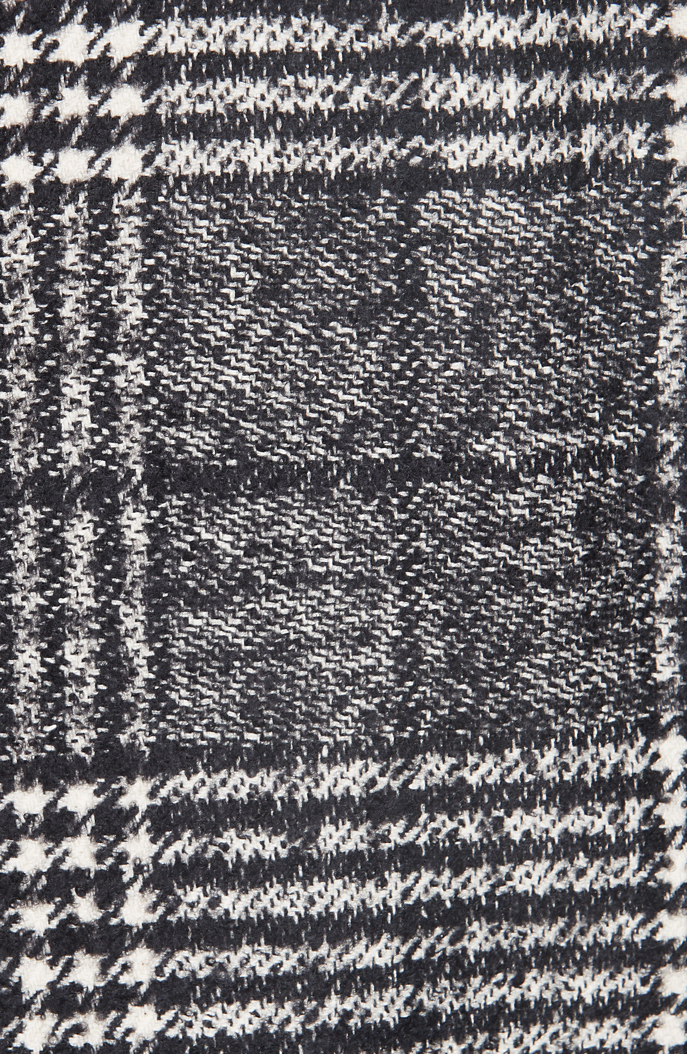 Magrete Bold Check Stretch Cotton Wool Coat,                             Alternate thumbnail 6, color,                             BLACK/ WHITE