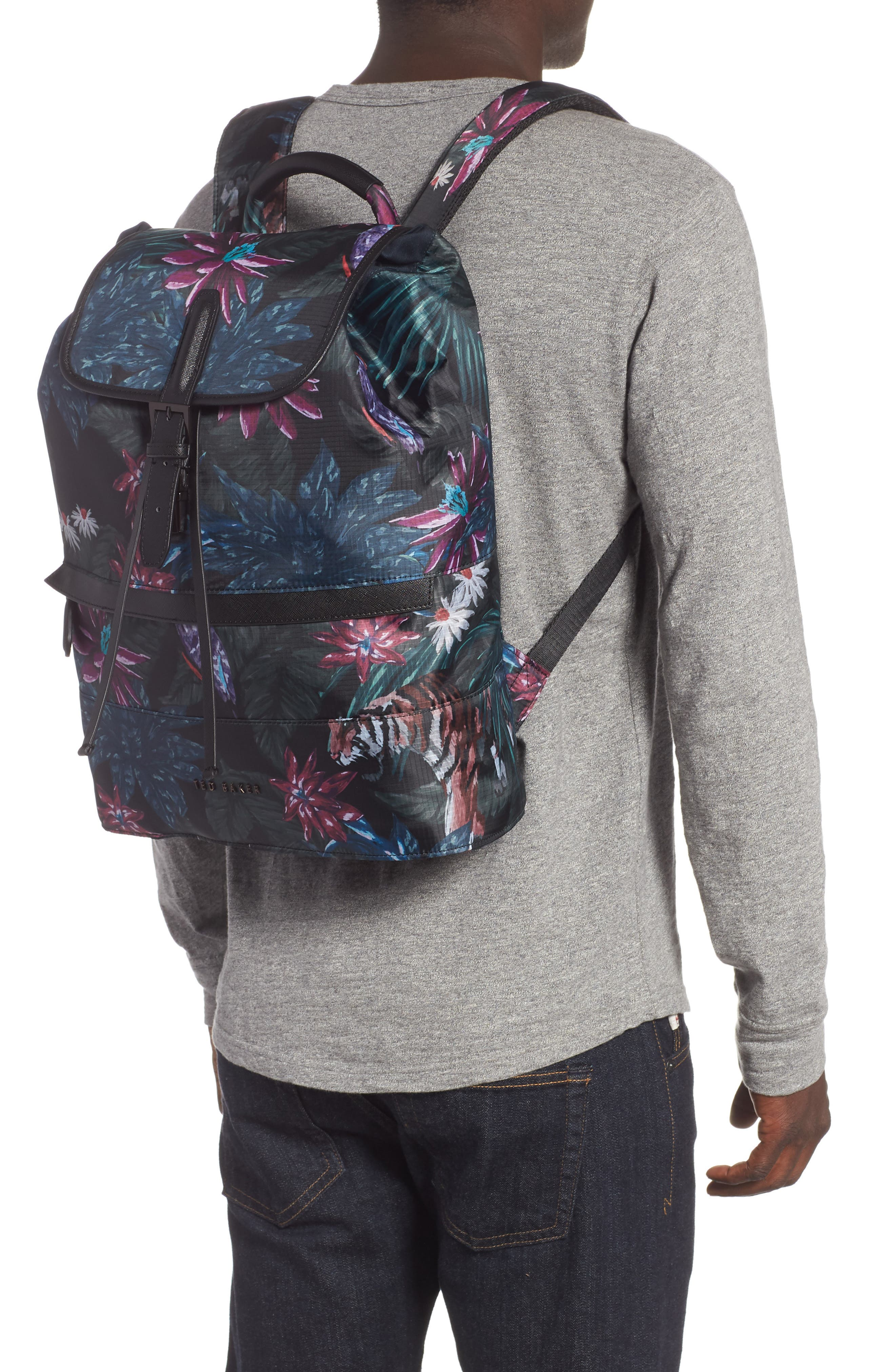 Revving Print Backpack,                             Alternate thumbnail 2, color,                             BLACK