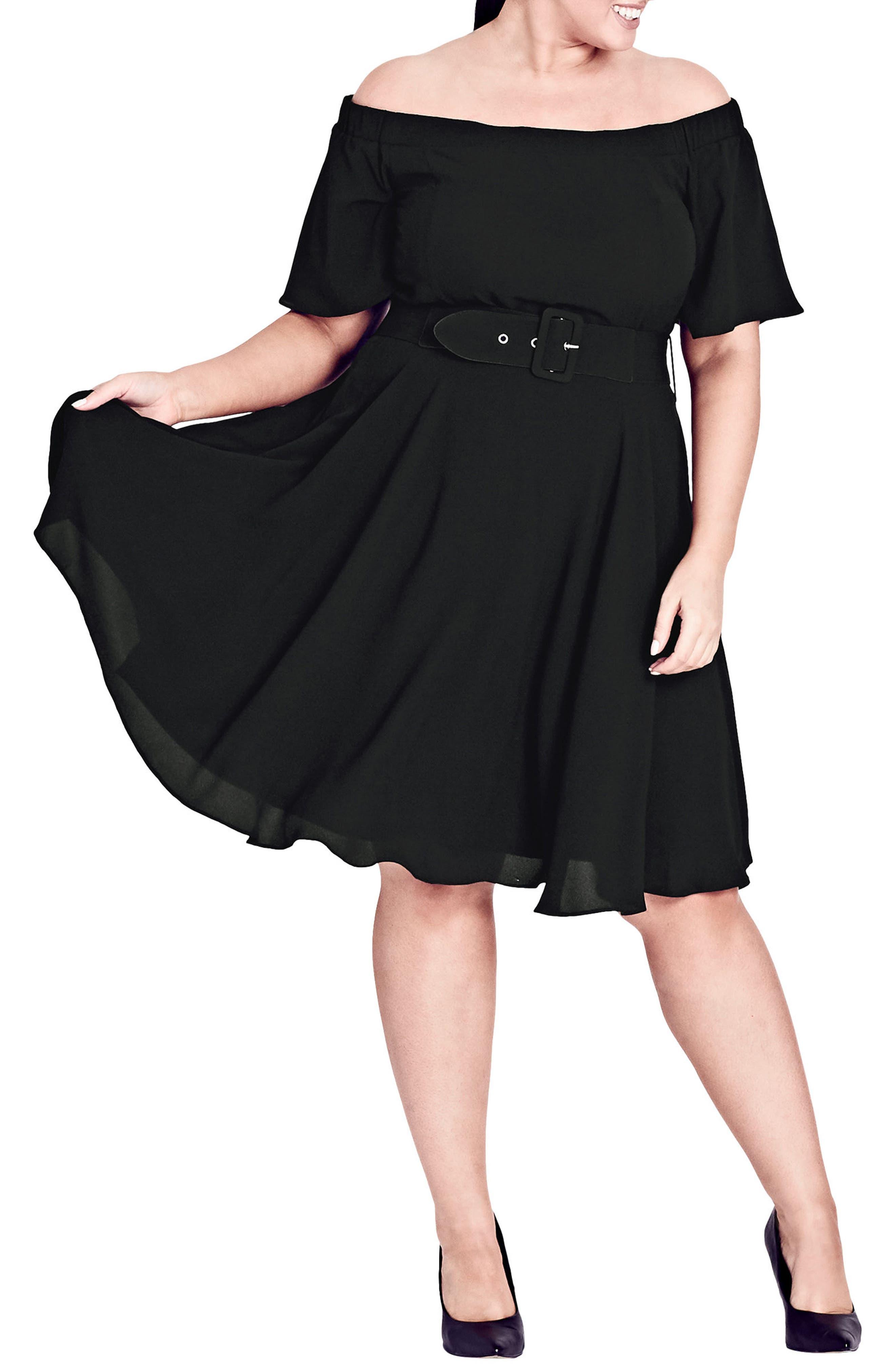 CITY CHIC,                             Lady Valerie Fit & Flare Dress,                             Main thumbnail 1, color,                             BLACK