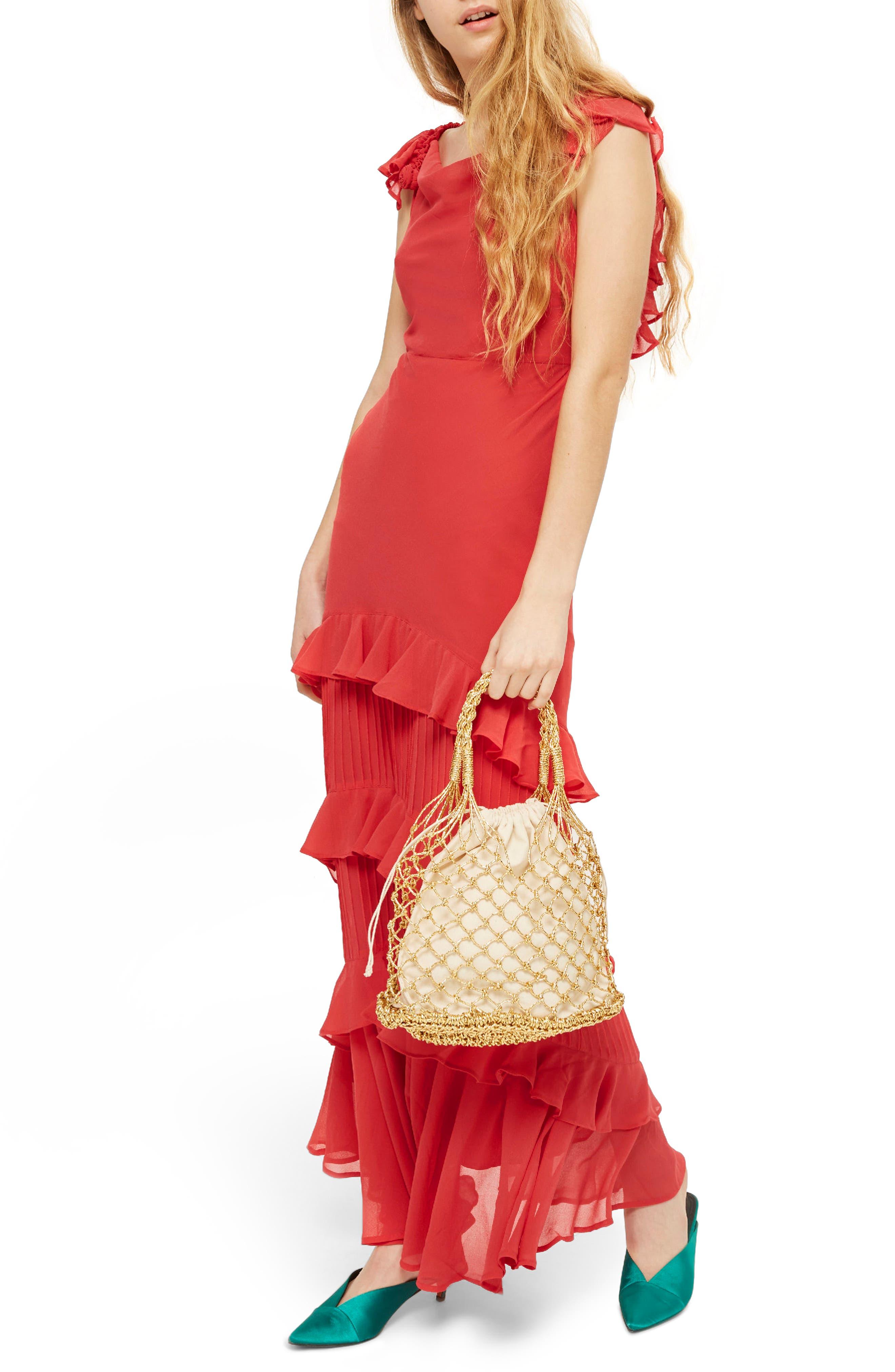 Ruffle Maxi Dress,                         Main,                         color, 600