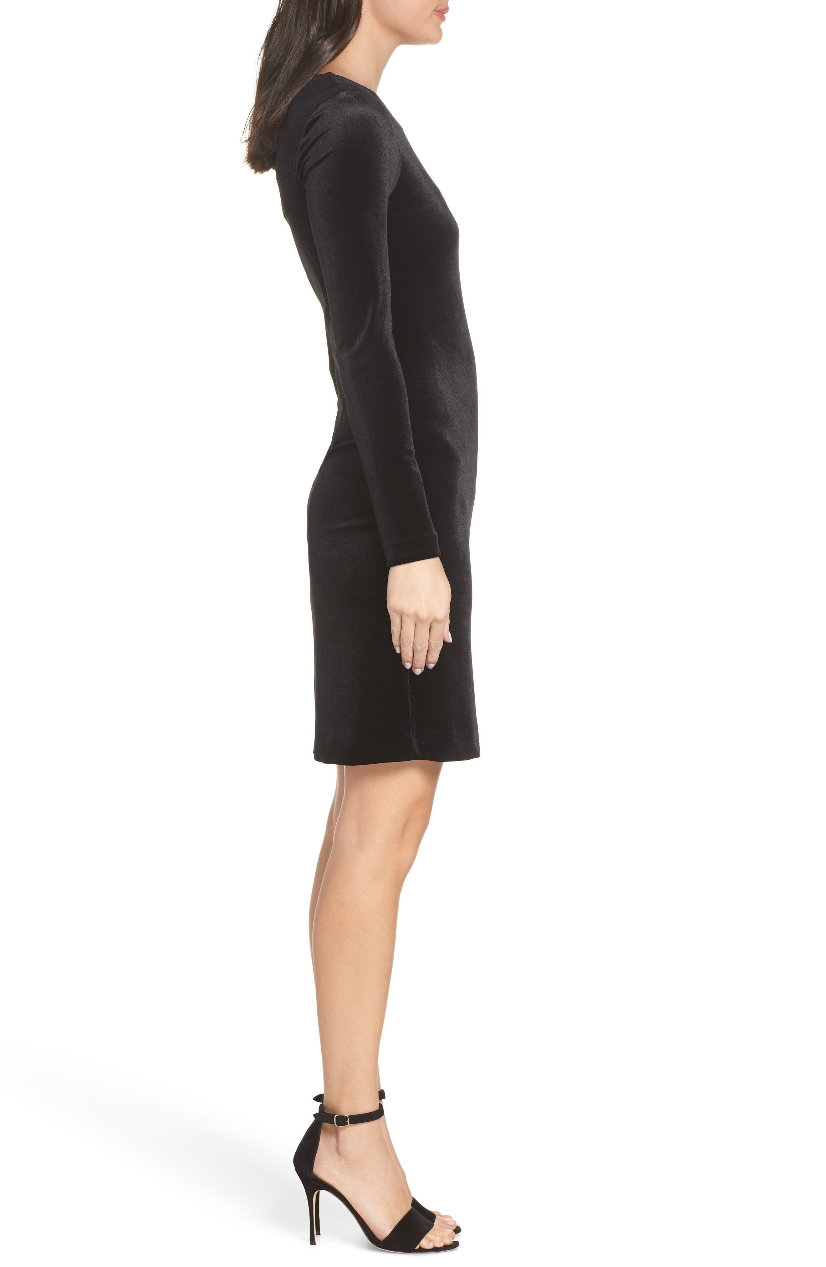 Zella Aurore Velvet Jersey Sheath Dress,                             Alternate thumbnail 3, color,                             BLACK GOLD