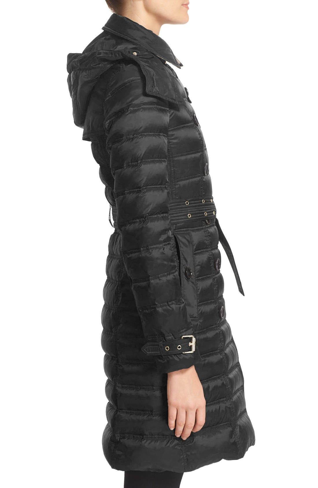 'Chesterford' Belted Double Breasted Down Coat,                             Alternate thumbnail 6, color,                             001