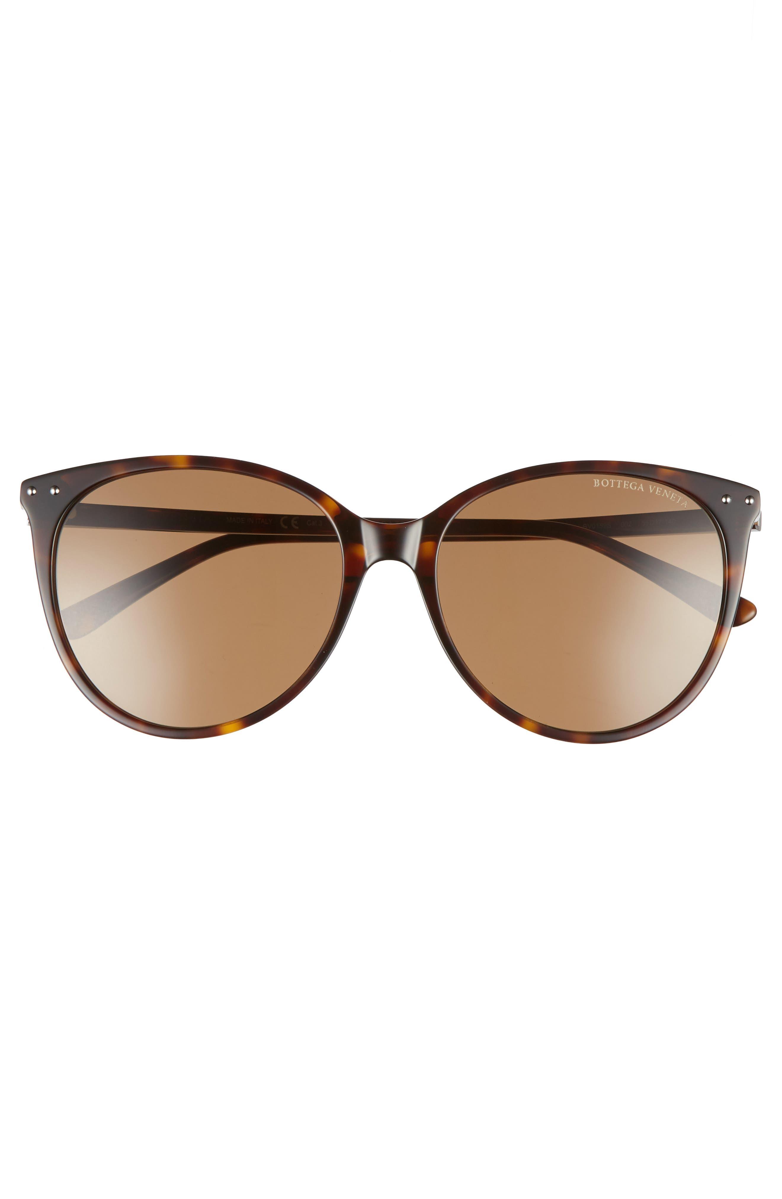 55mm Cat Eye Sunglasses,                             Alternate thumbnail 3, color,                             DARK HAVANA