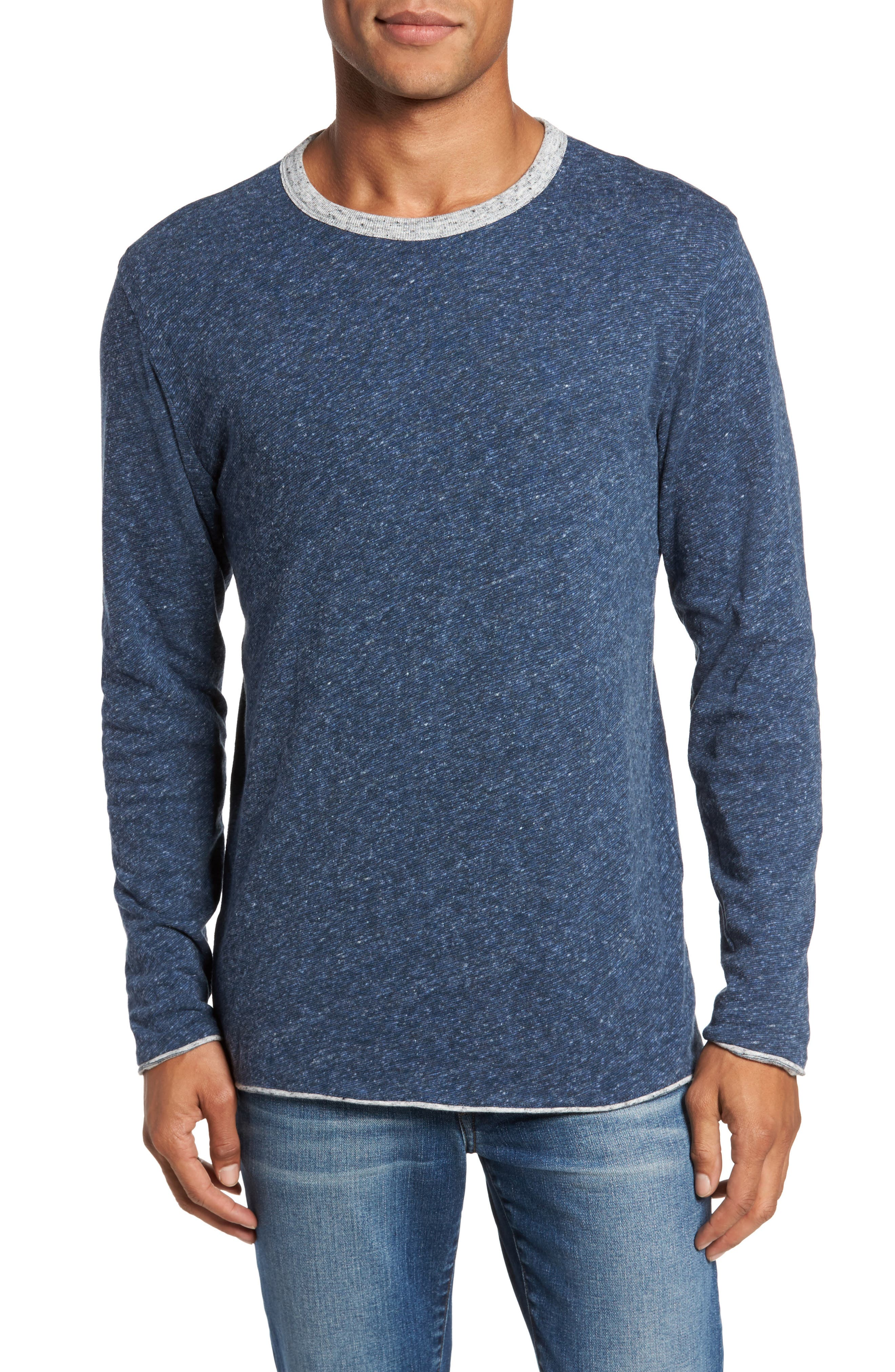 Heathered Reversible Long Sleeve Crewneck T-Shirt,                             Alternate thumbnail 4, color,                             032