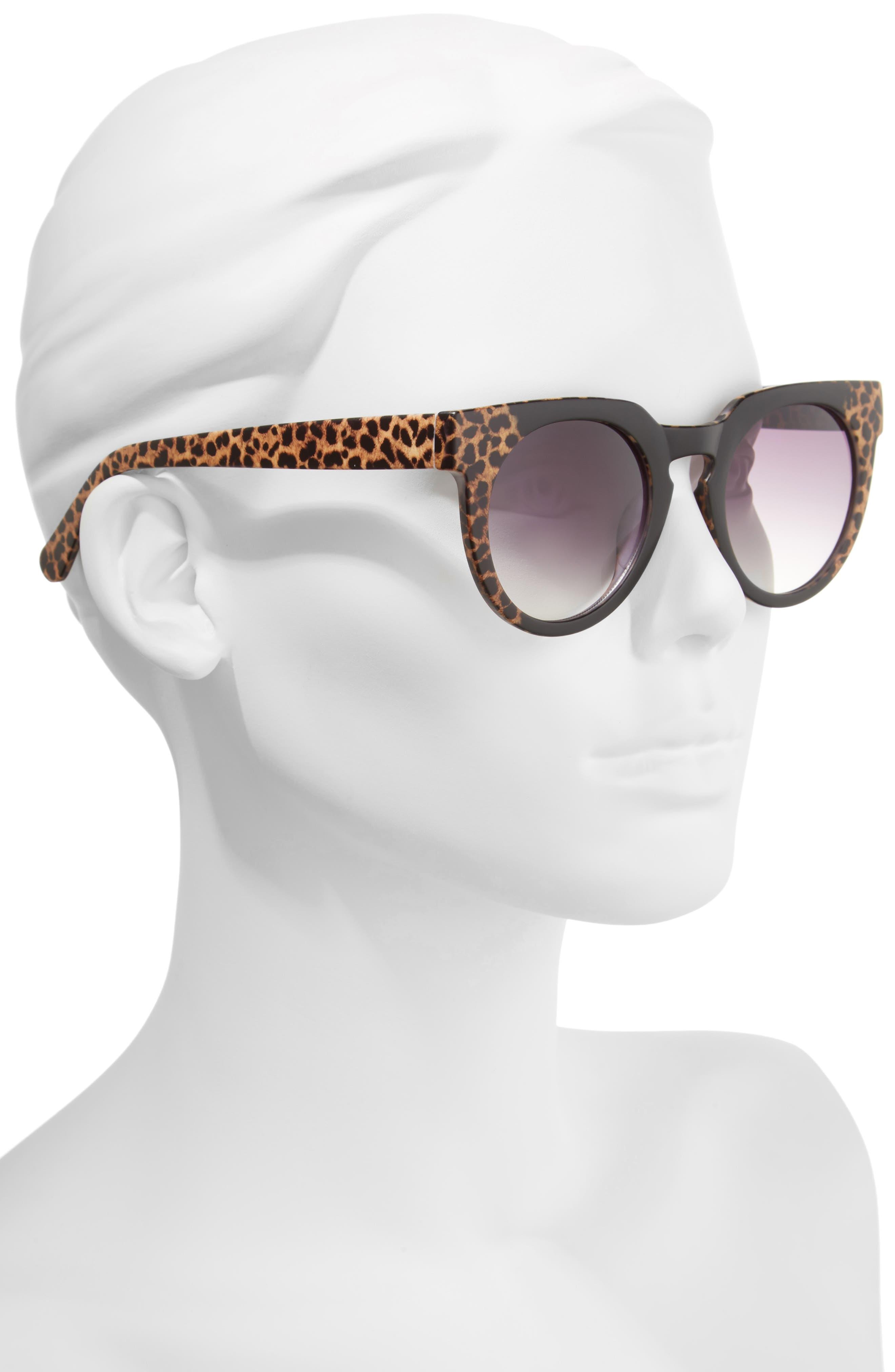 47mm Animal Print Round Sunglasses,                             Alternate thumbnail 2, color,                             001