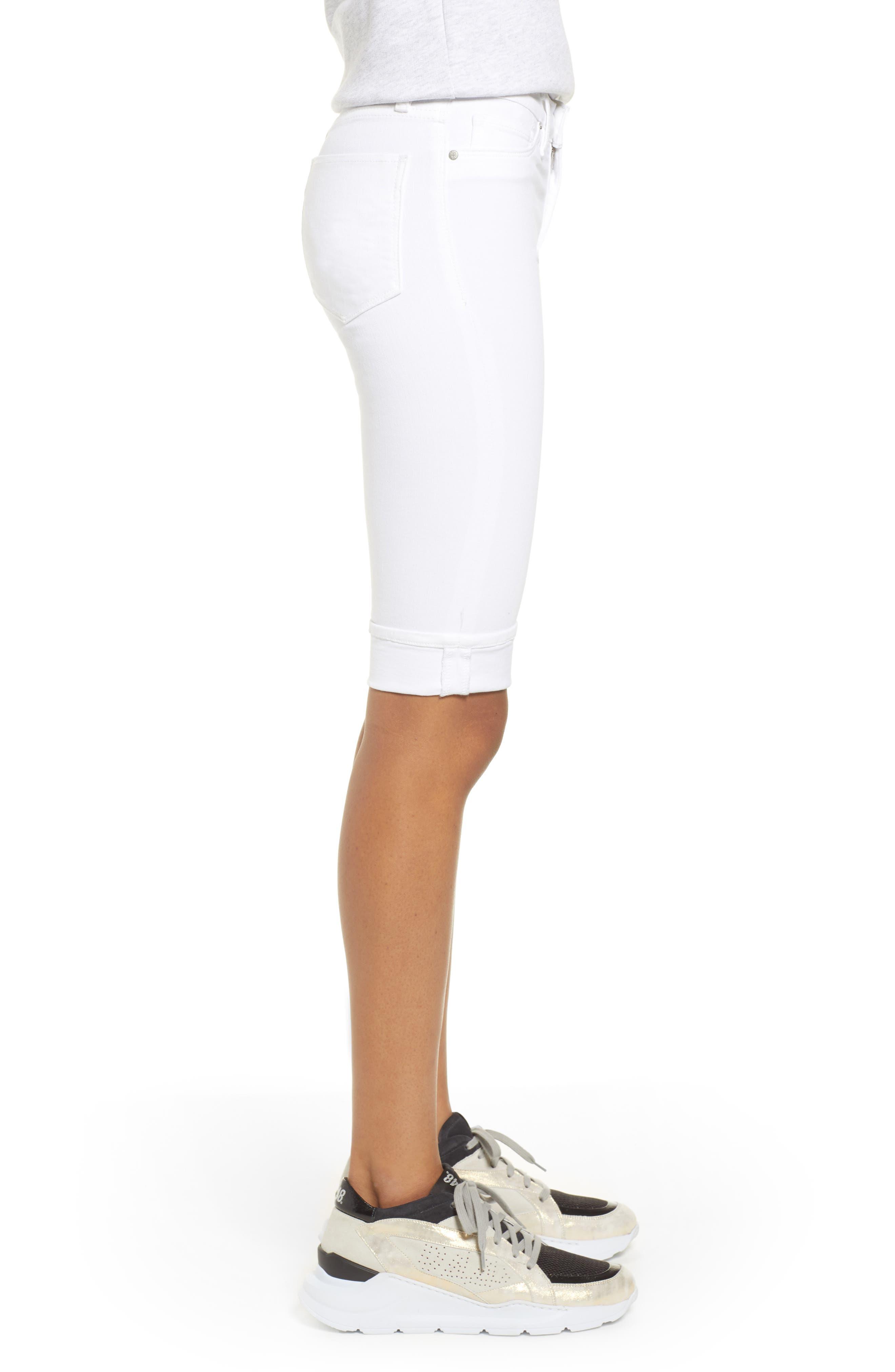 Amelia Cuff Bermuda Shorts,                             Alternate thumbnail 3, color,                             WHITE