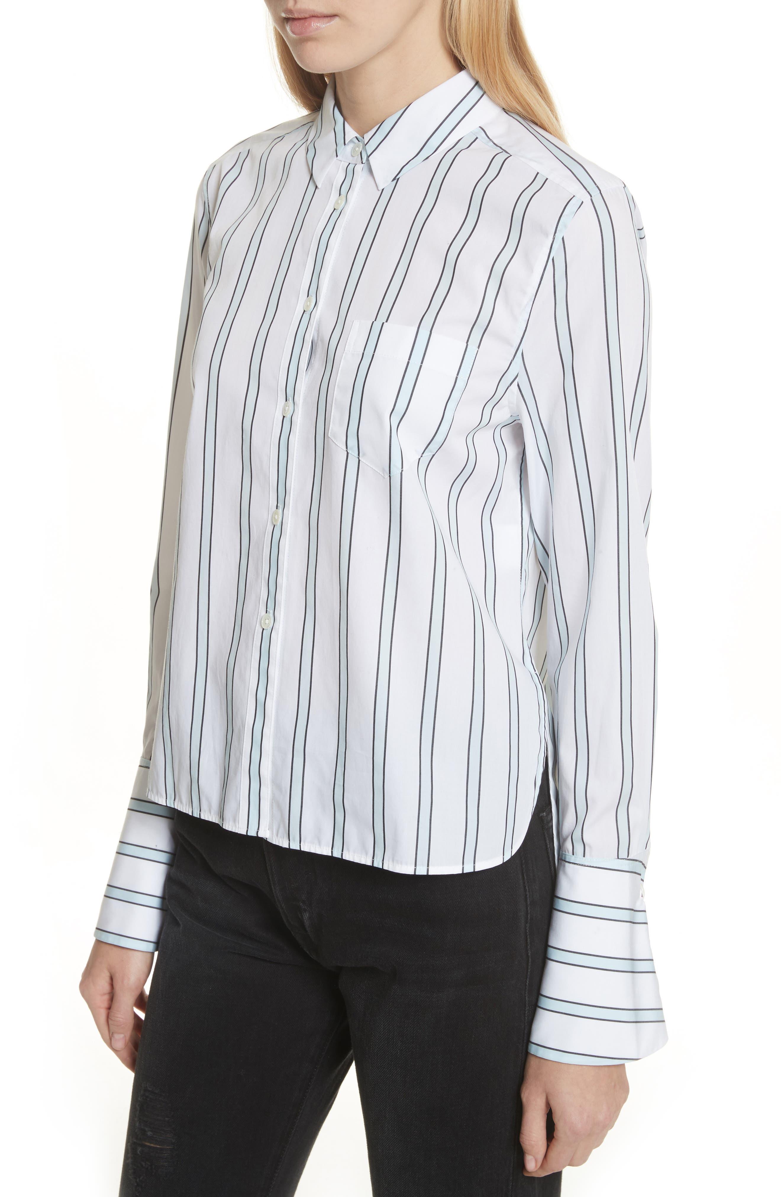 Huntley Stripe Cotton Shirt,                             Alternate thumbnail 4, color,                             157