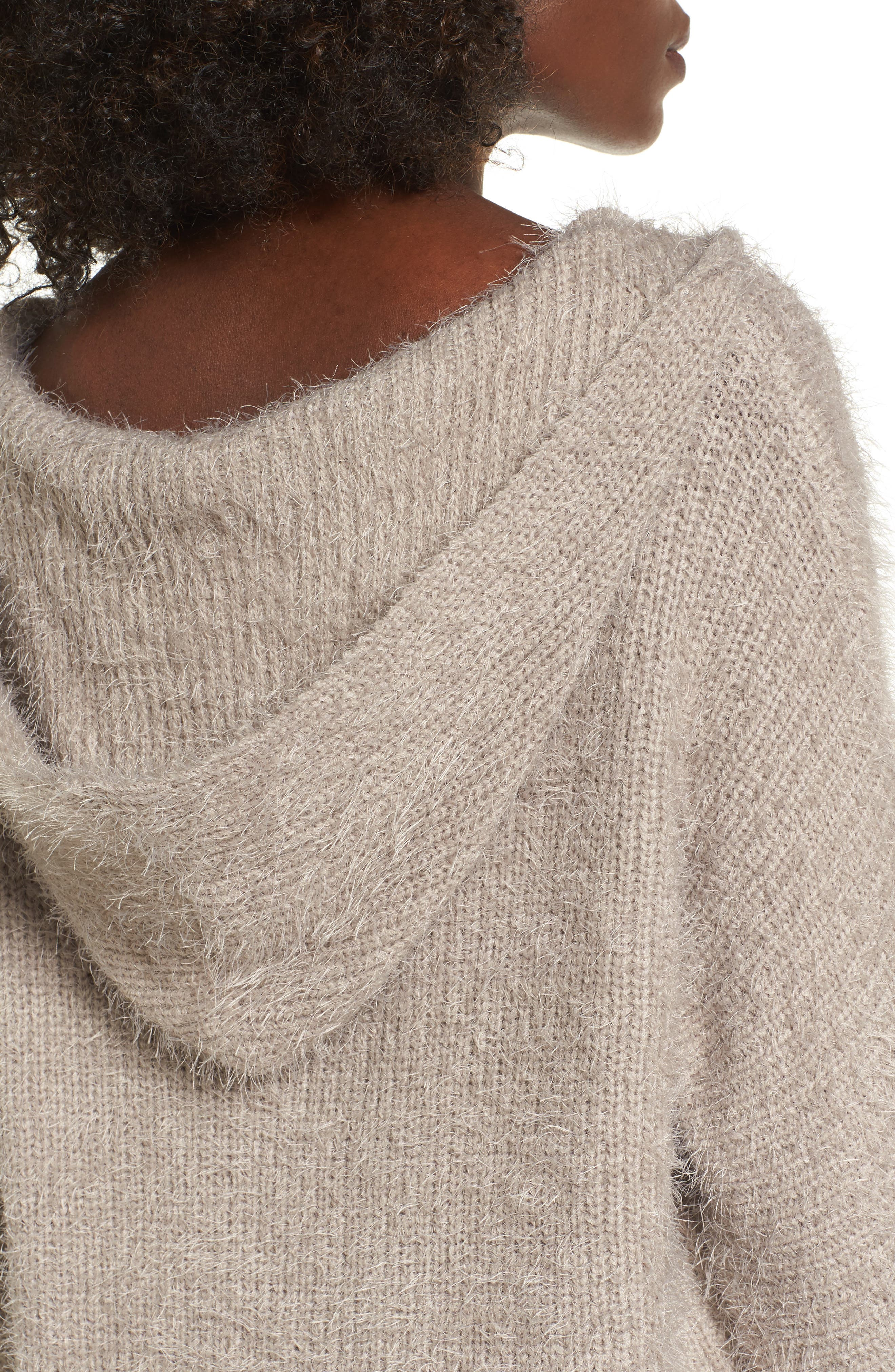 Eyelash Knit Hooded Sweater,                             Alternate thumbnail 4, color,