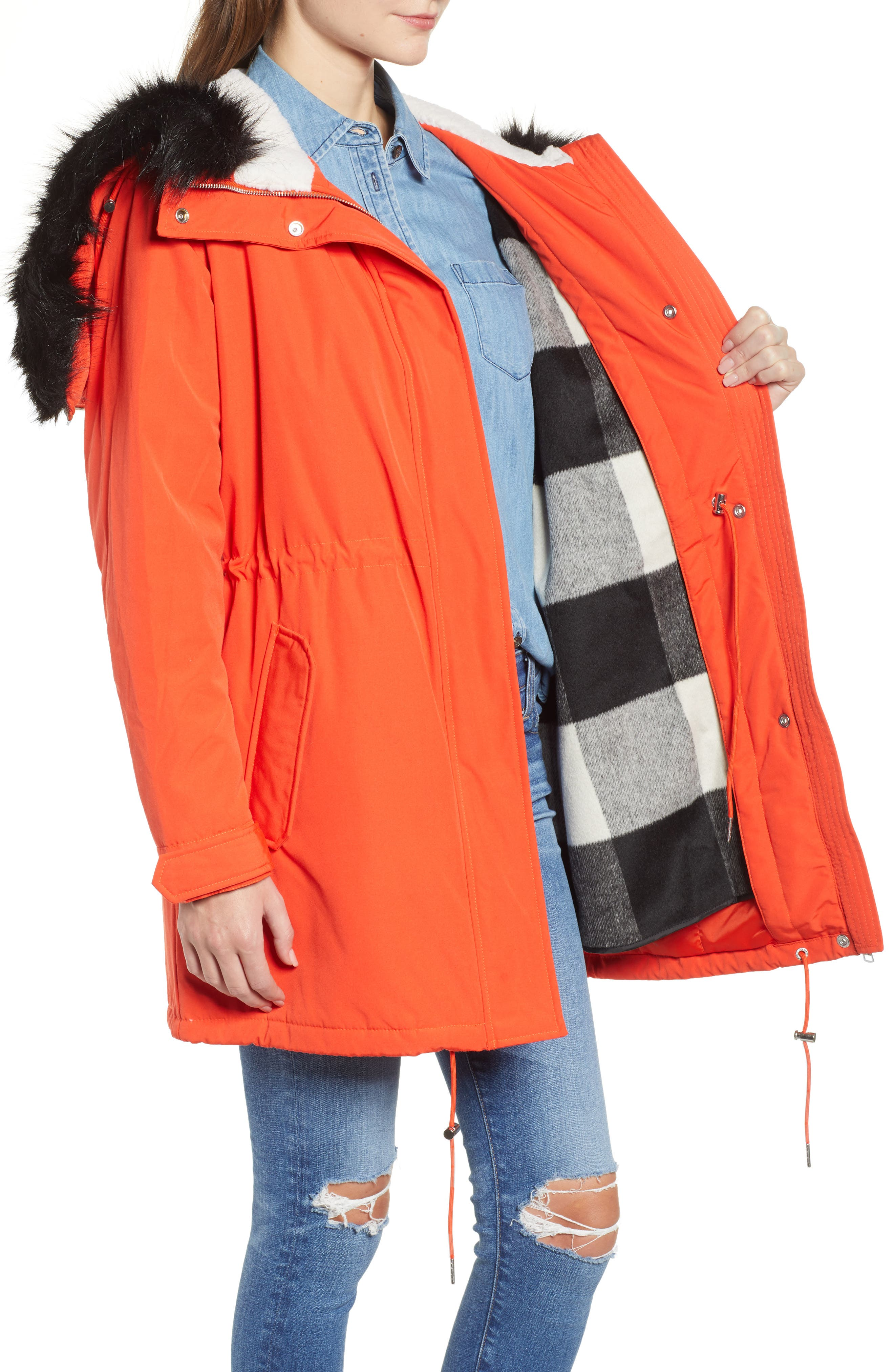 Faux Fur Trim Parka,                             Alternate thumbnail 6, color,                             600