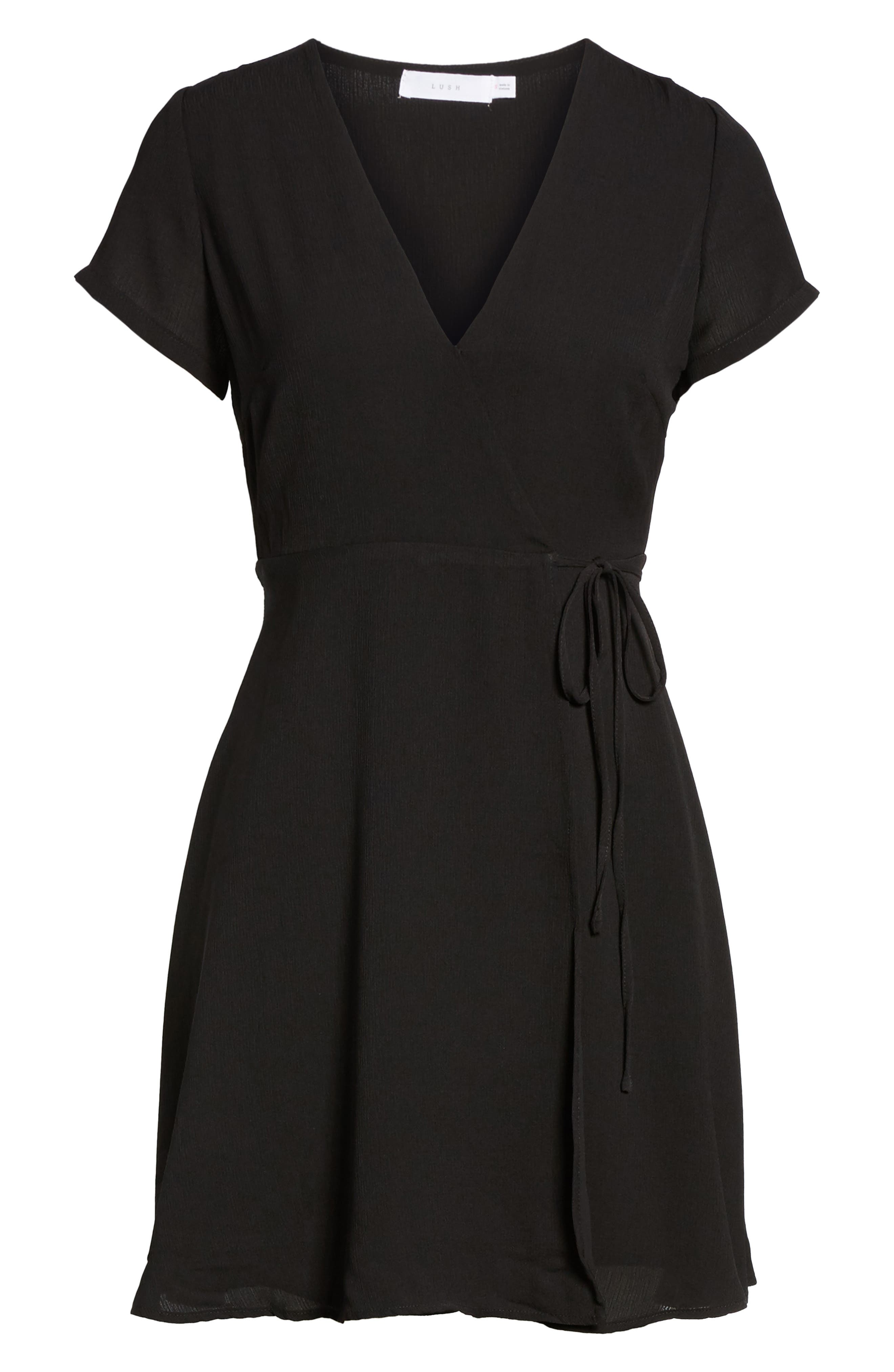 Olivia Wrap Dress,                             Alternate thumbnail 6, color,                             001