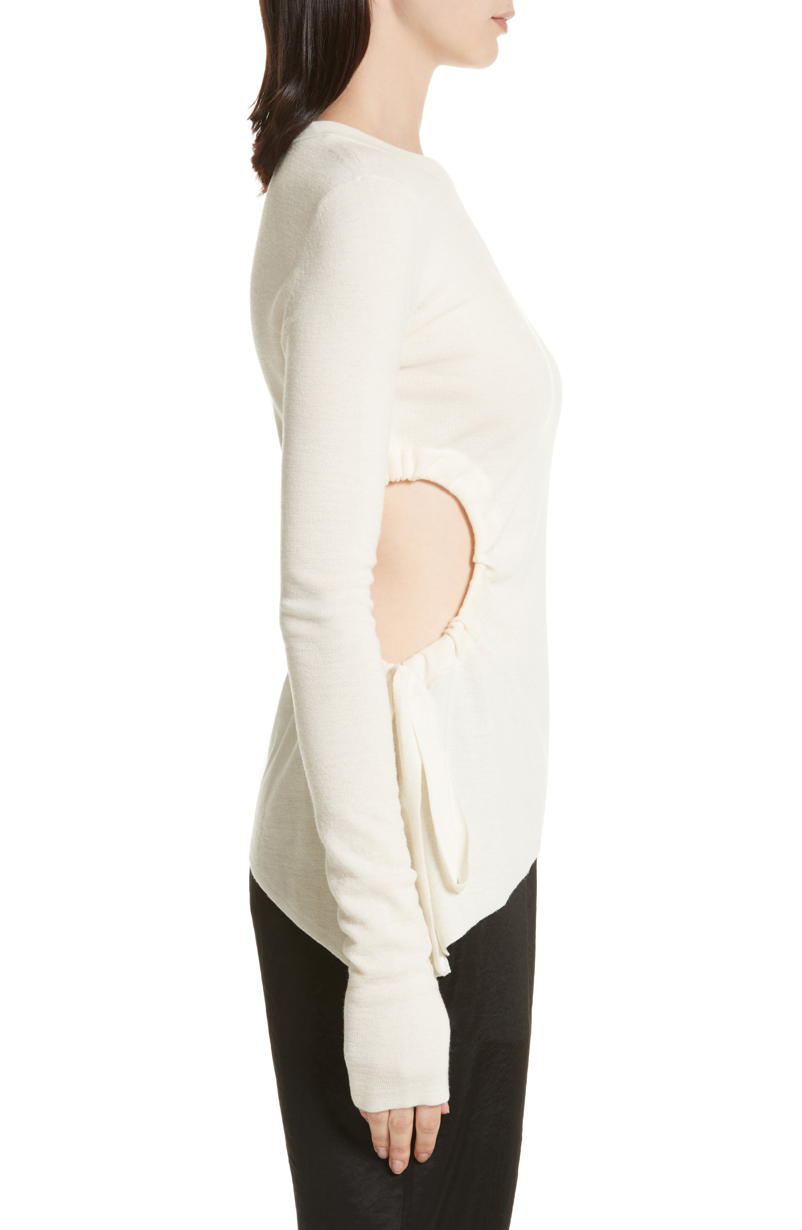 T by Alexander Wang Ruched Cutout Merino Wool Sweater,                             Alternate thumbnail 3, color,                             906