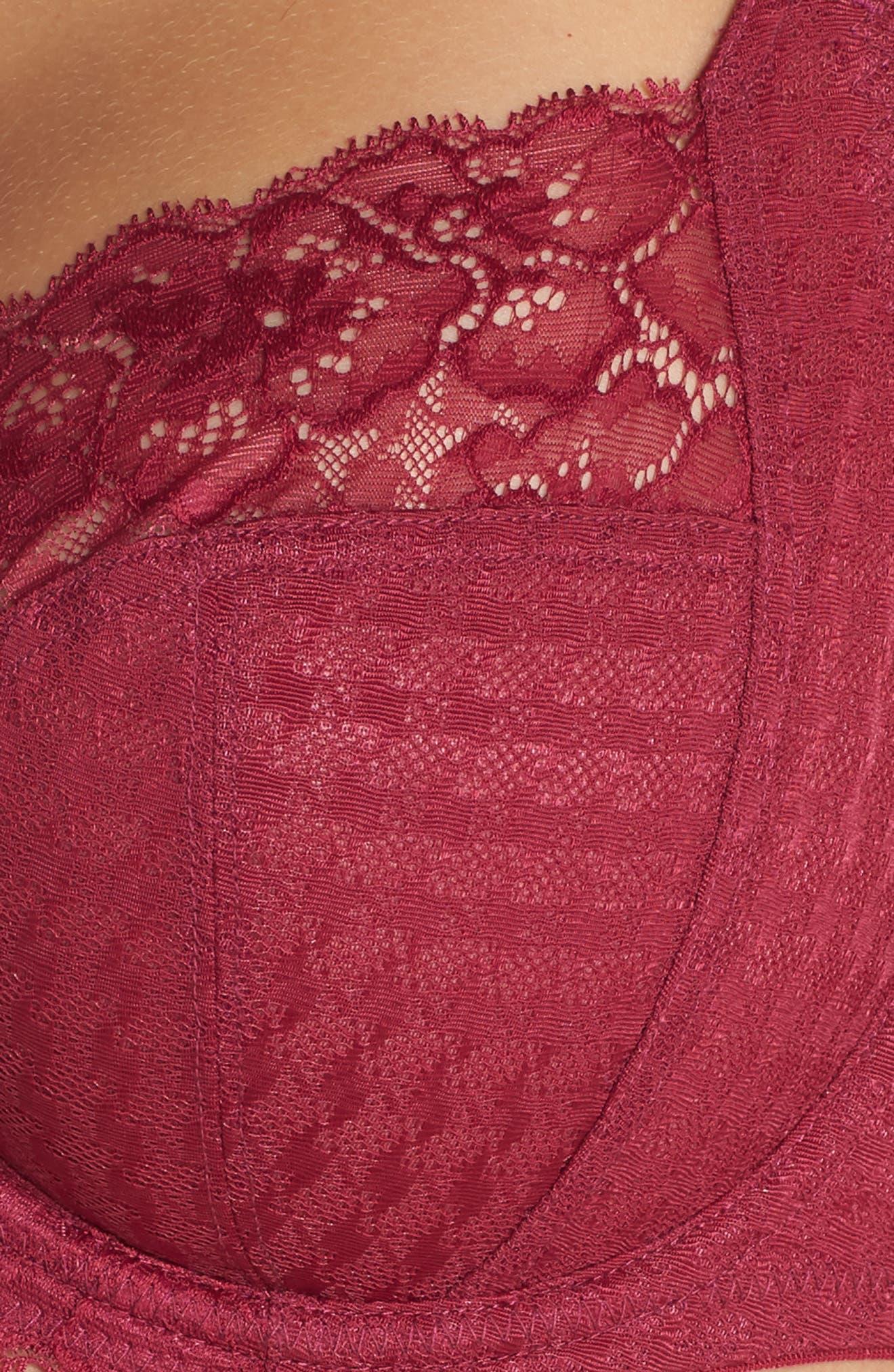 'Envy' Underwire Stretch Lace Bra,                             Alternate thumbnail 6, color,                             ROUGE