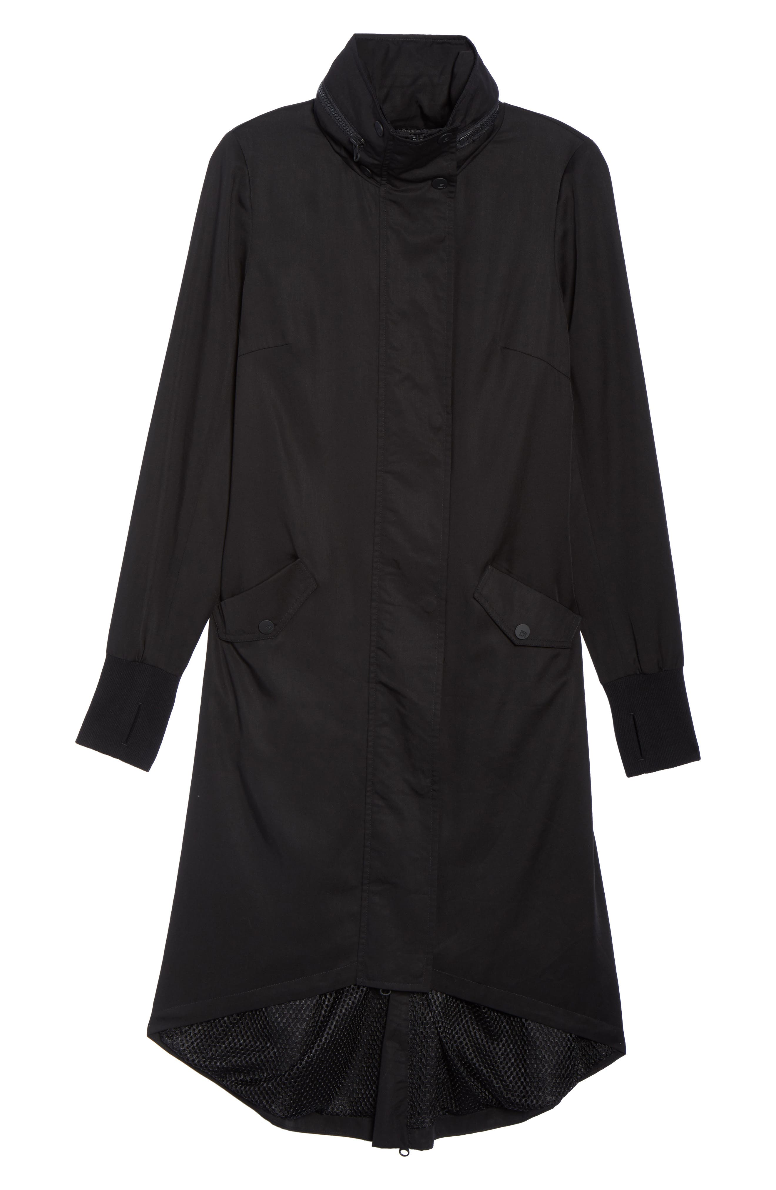 Blank Noir Hooded Water Resistant Anorak,                             Alternate thumbnail 6, color,                             001