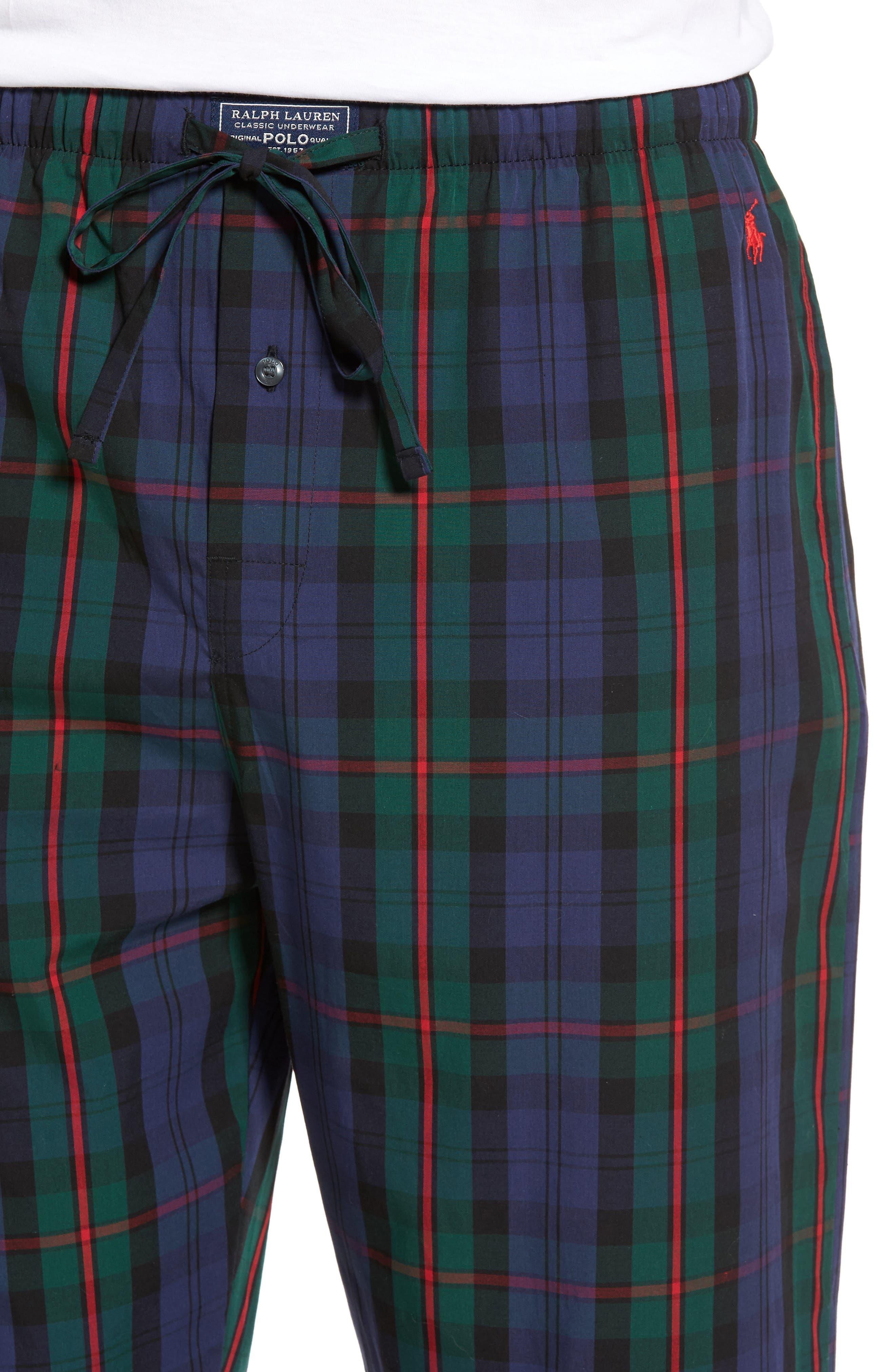 Plaid Cotton Lounge Pants,                             Alternate thumbnail 4, color,                             409