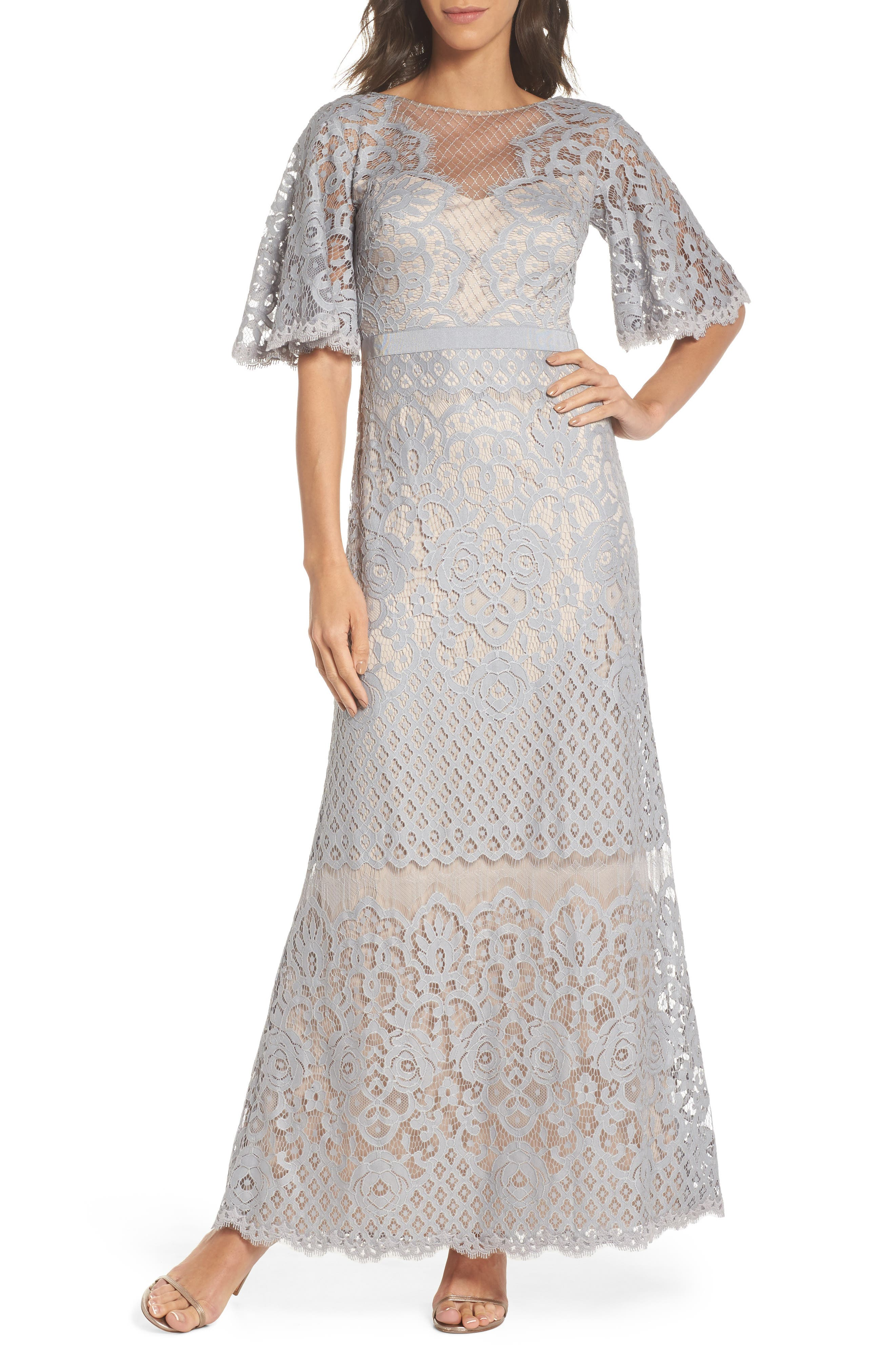 Malina Flutter Sleeve Lace Gown,                             Main thumbnail 1, color,                             020
