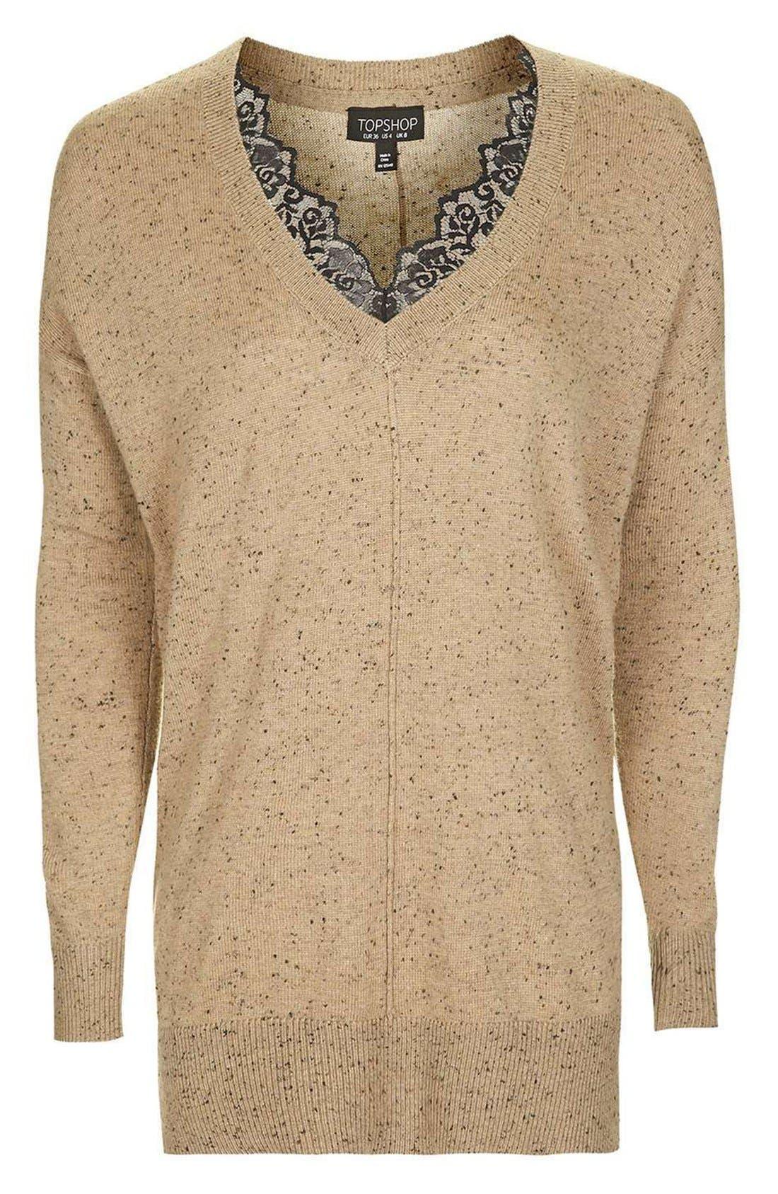 Lace V-Neck Sweater Tunic,                             Alternate thumbnail 9, color,                             230