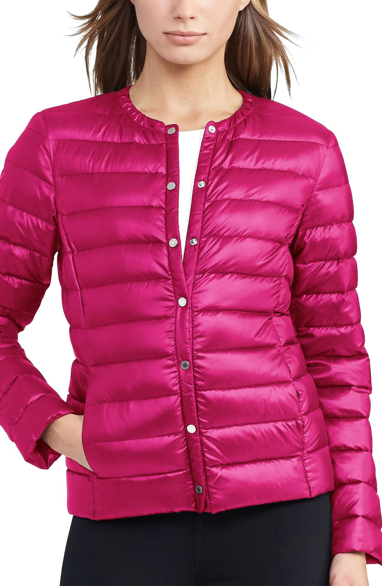 Packable Quilted Collarless Down Jacket,                             Main thumbnail 3, color,
