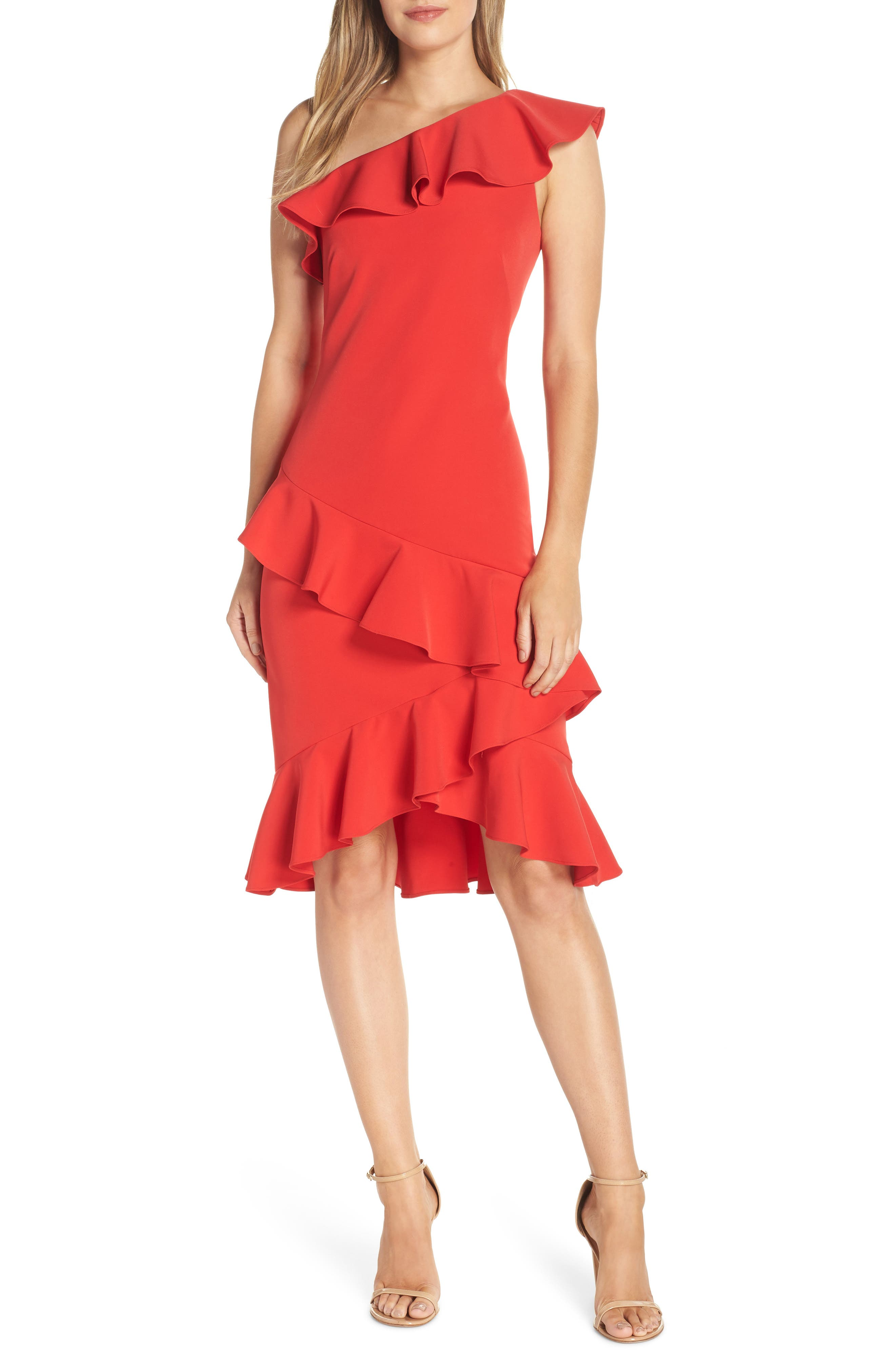 Vince Camuto One-Shoulder Ruffle Dress, Red