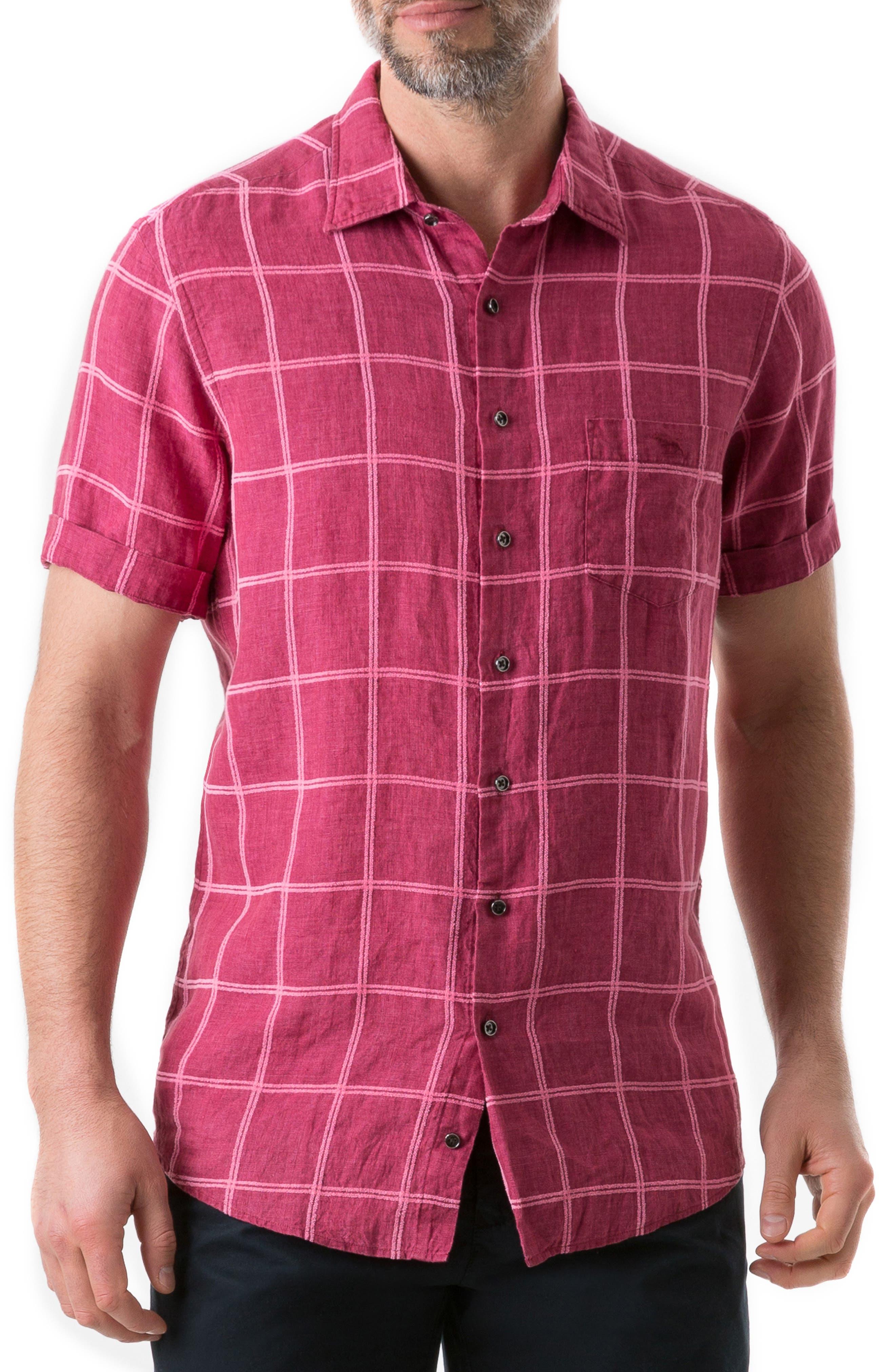New Windsor Regular Fit Check Linen Blend Sport Shirt, Main, color, MAGENTA