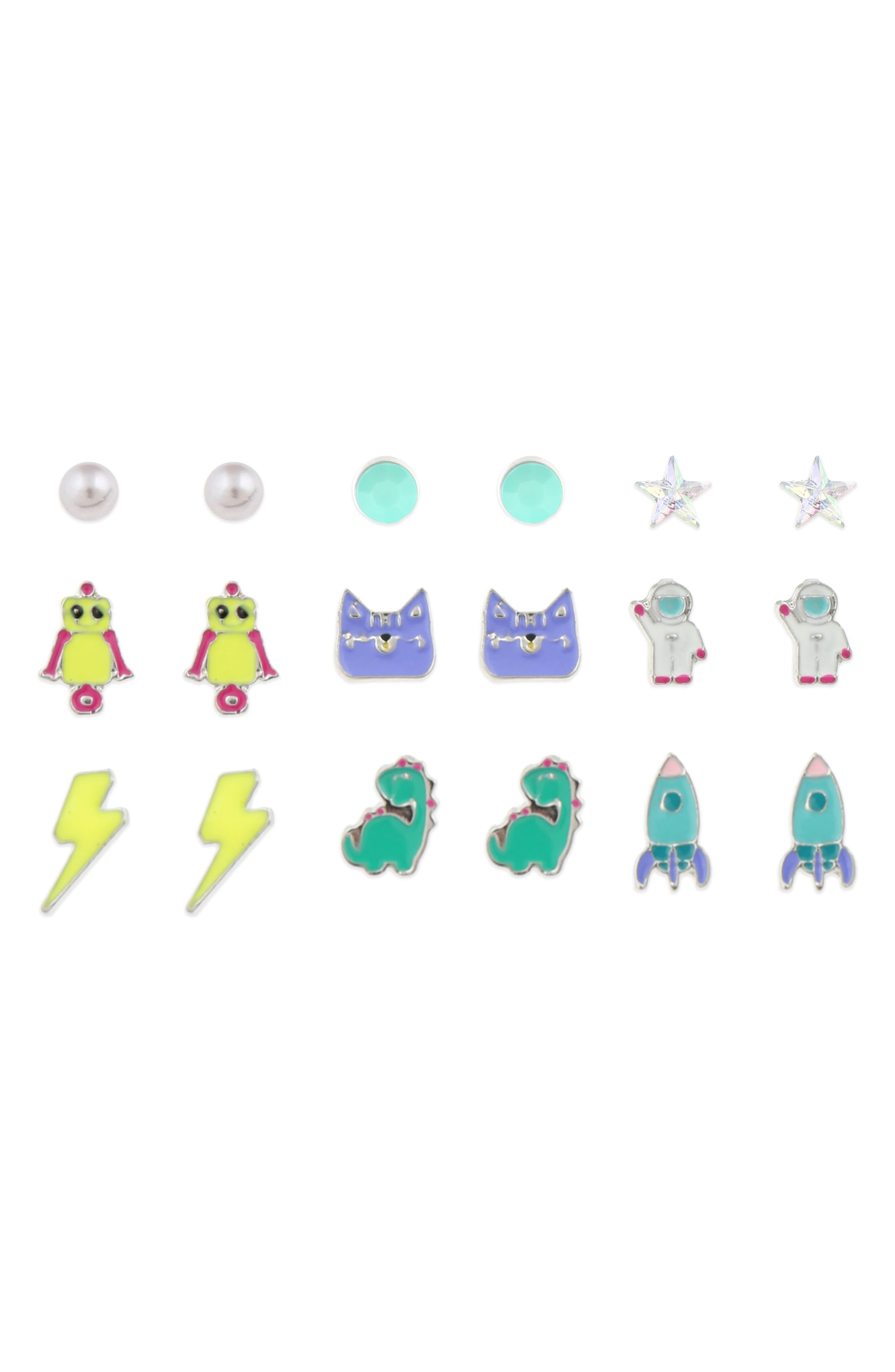 Set of 9 Stud Earrings,                         Main,                         color, MULTI
