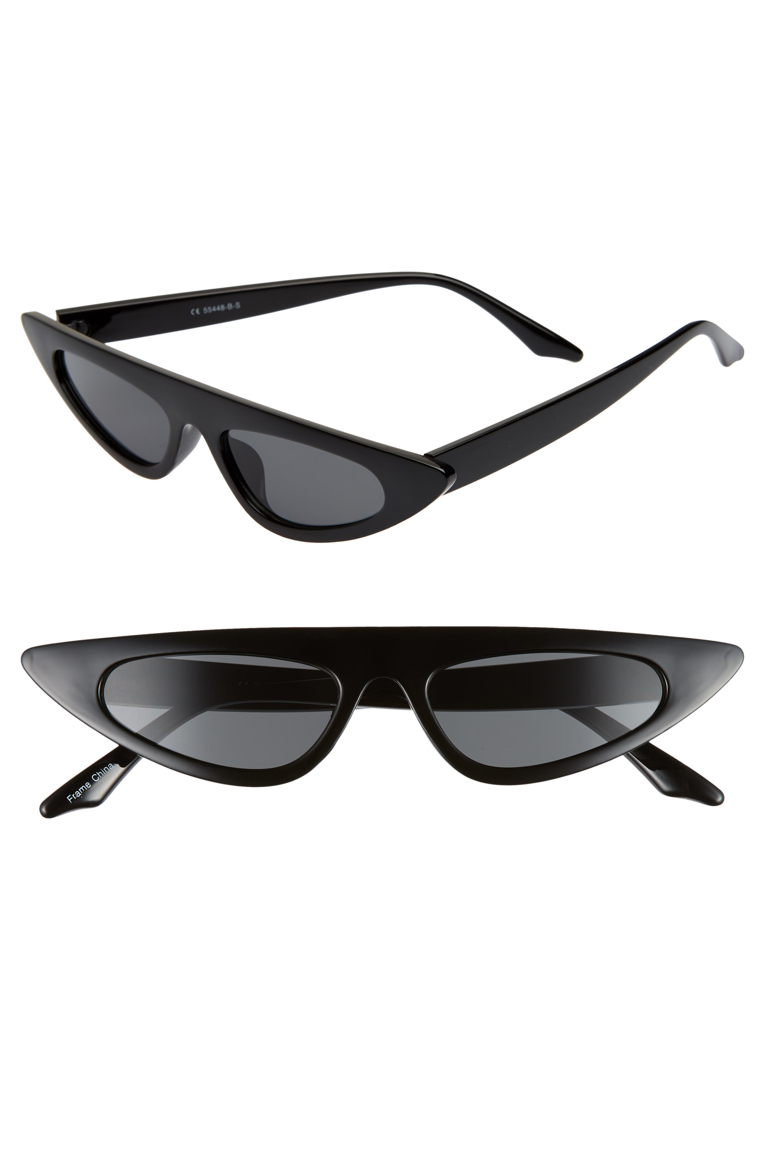 50mm Flat Top Cat Eye Sunglasses,                         Main,                         color, BLACK