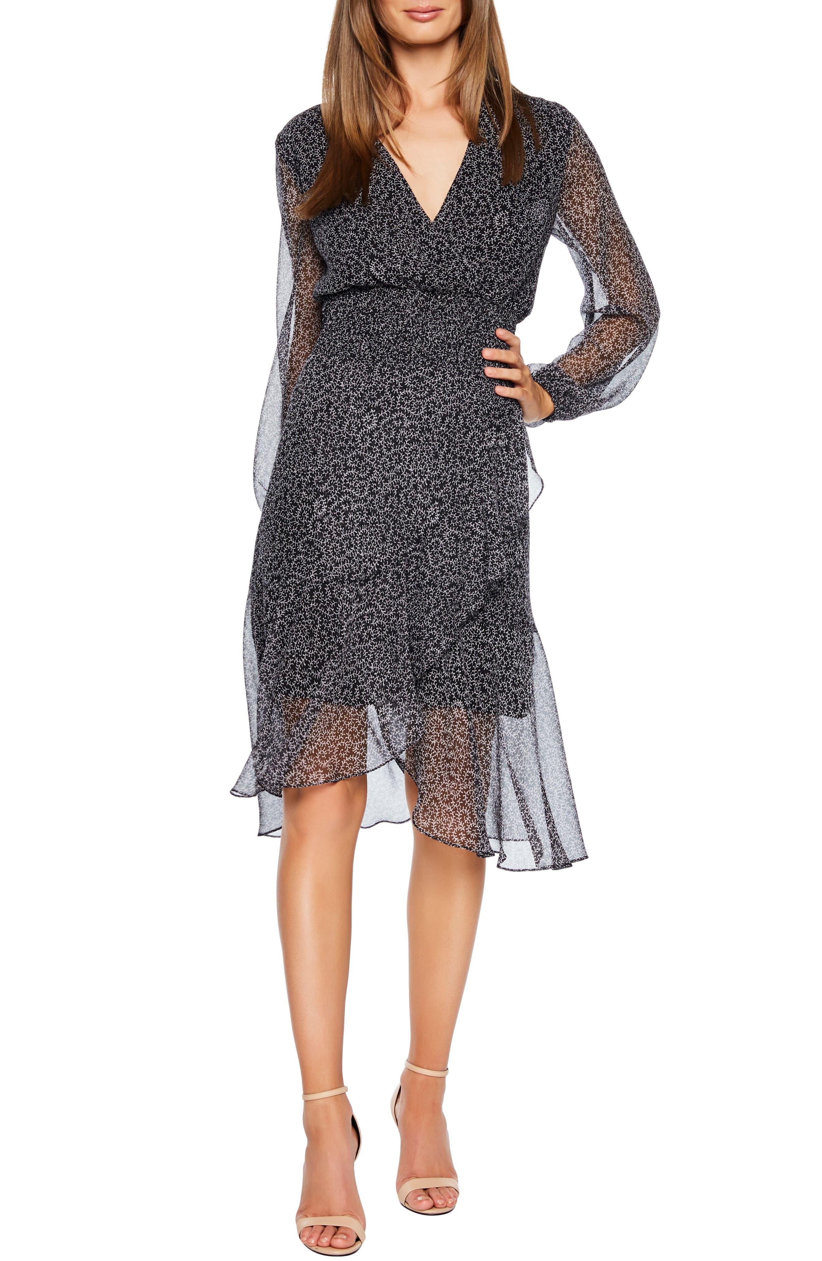 Bardot Sally Faux Chiffon Wrap Dress, Black