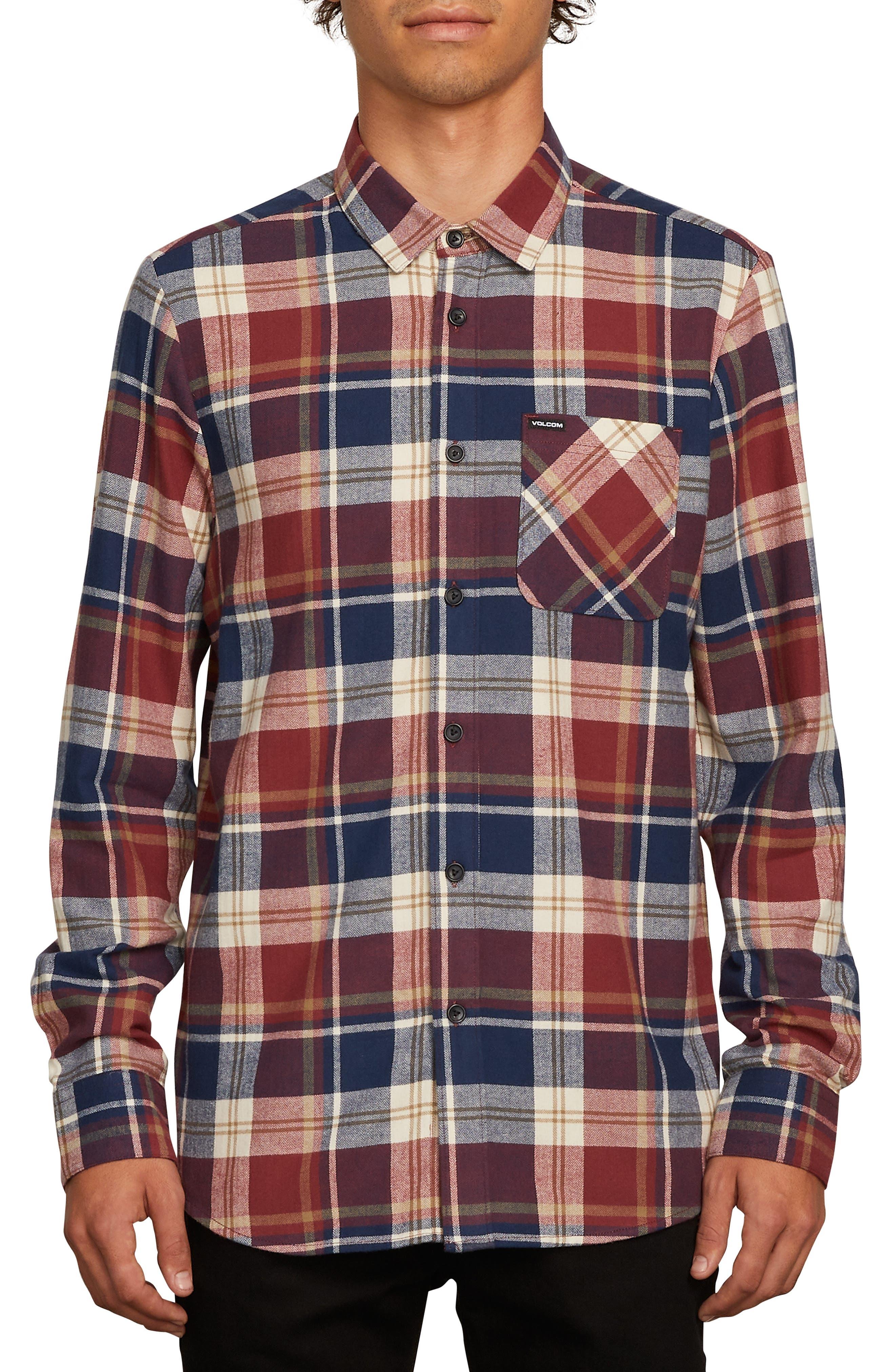 Caden Plaid Flannel Shirt,                             Main thumbnail 1, color,                             MELINDIGO
