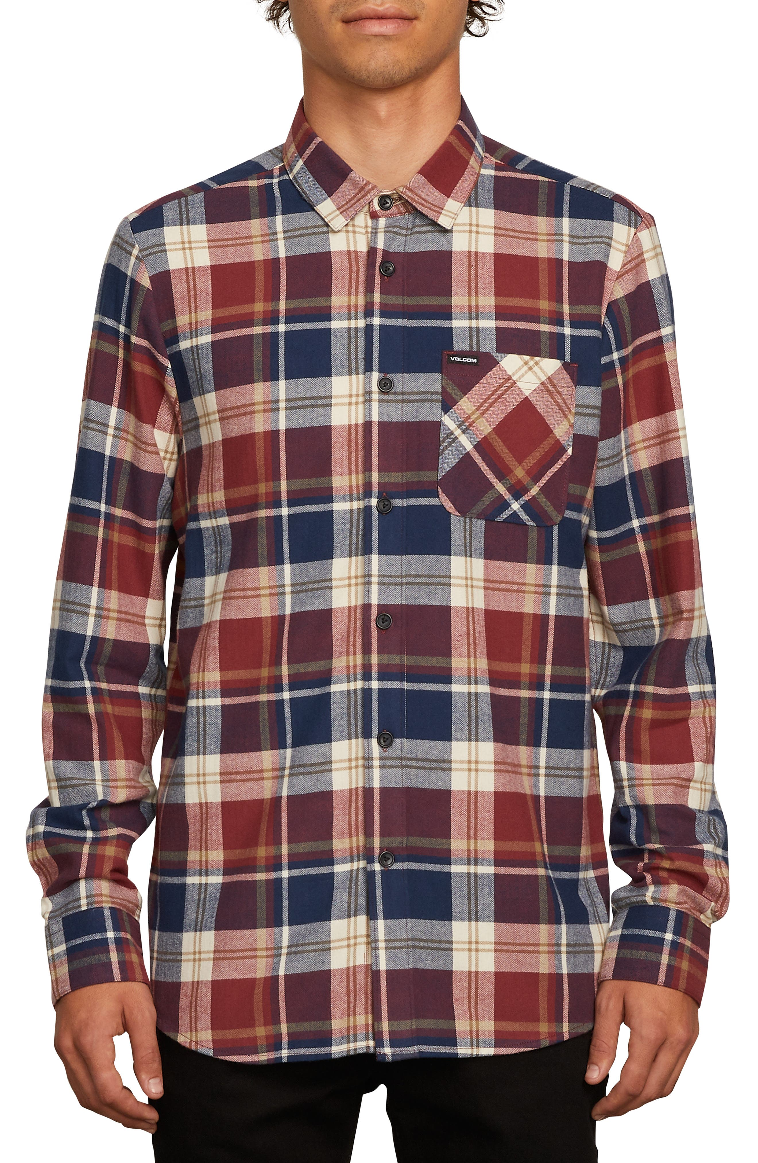 Caden Plaid Flannel Shirt,                         Main,                         color, MELINDIGO