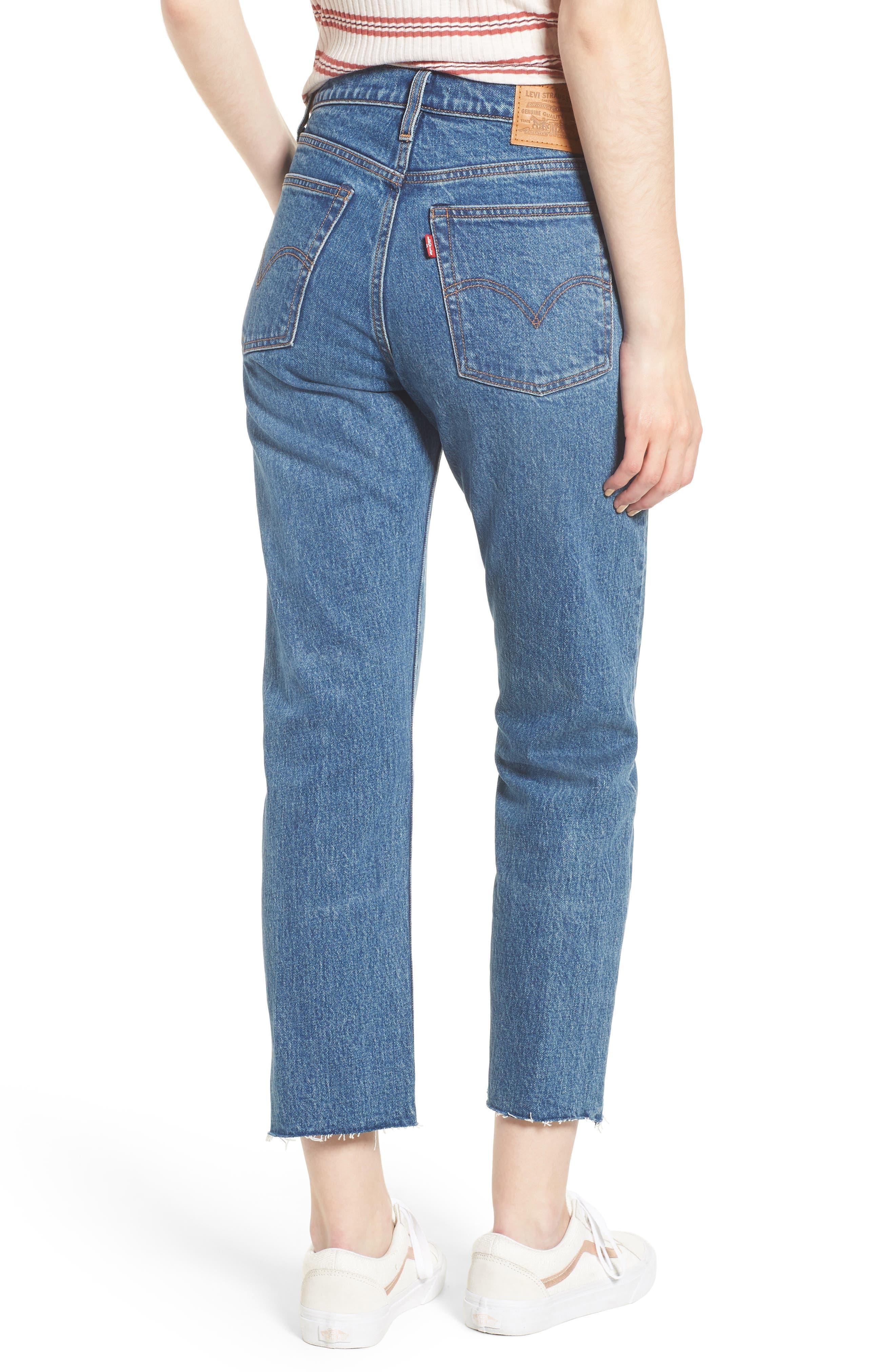 Wedgie Raw Hem High Waist Straight Leg Jeans,                             Alternate thumbnail 2, color,                             LOVE TRIANGLE