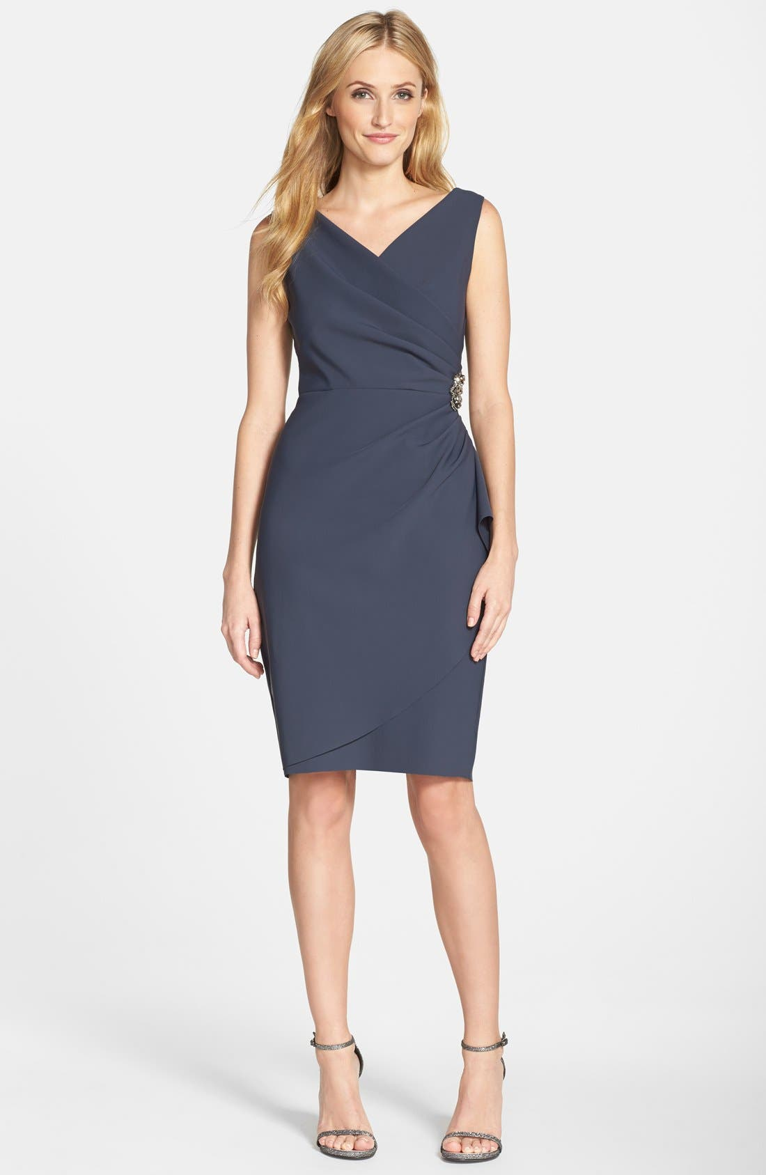 Side Ruched Dress,                             Alternate thumbnail 5, color,                             CHARCOAL