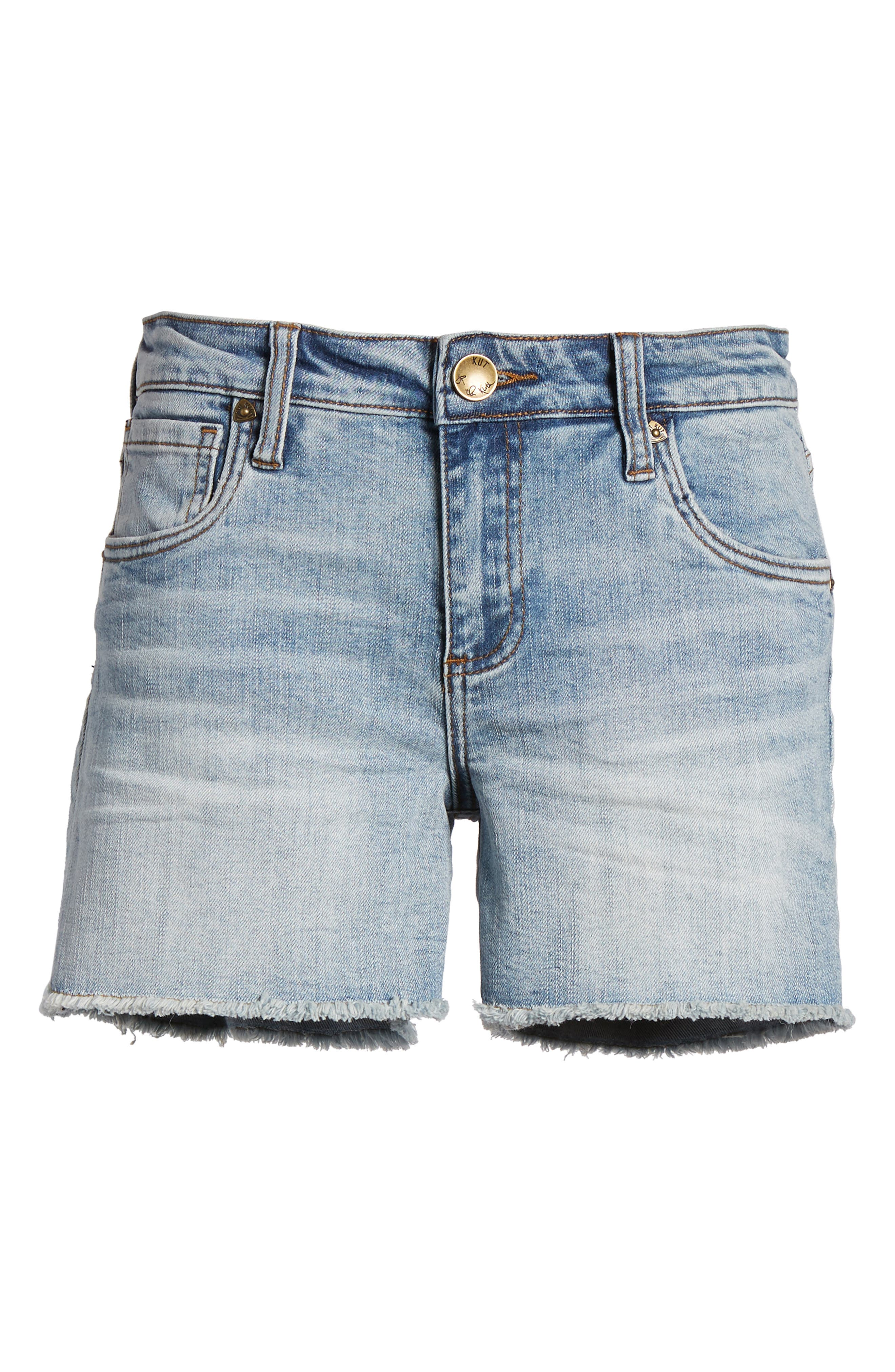 Gidget Cutoff Denim Shorts,                             Alternate thumbnail 7, color,                             470