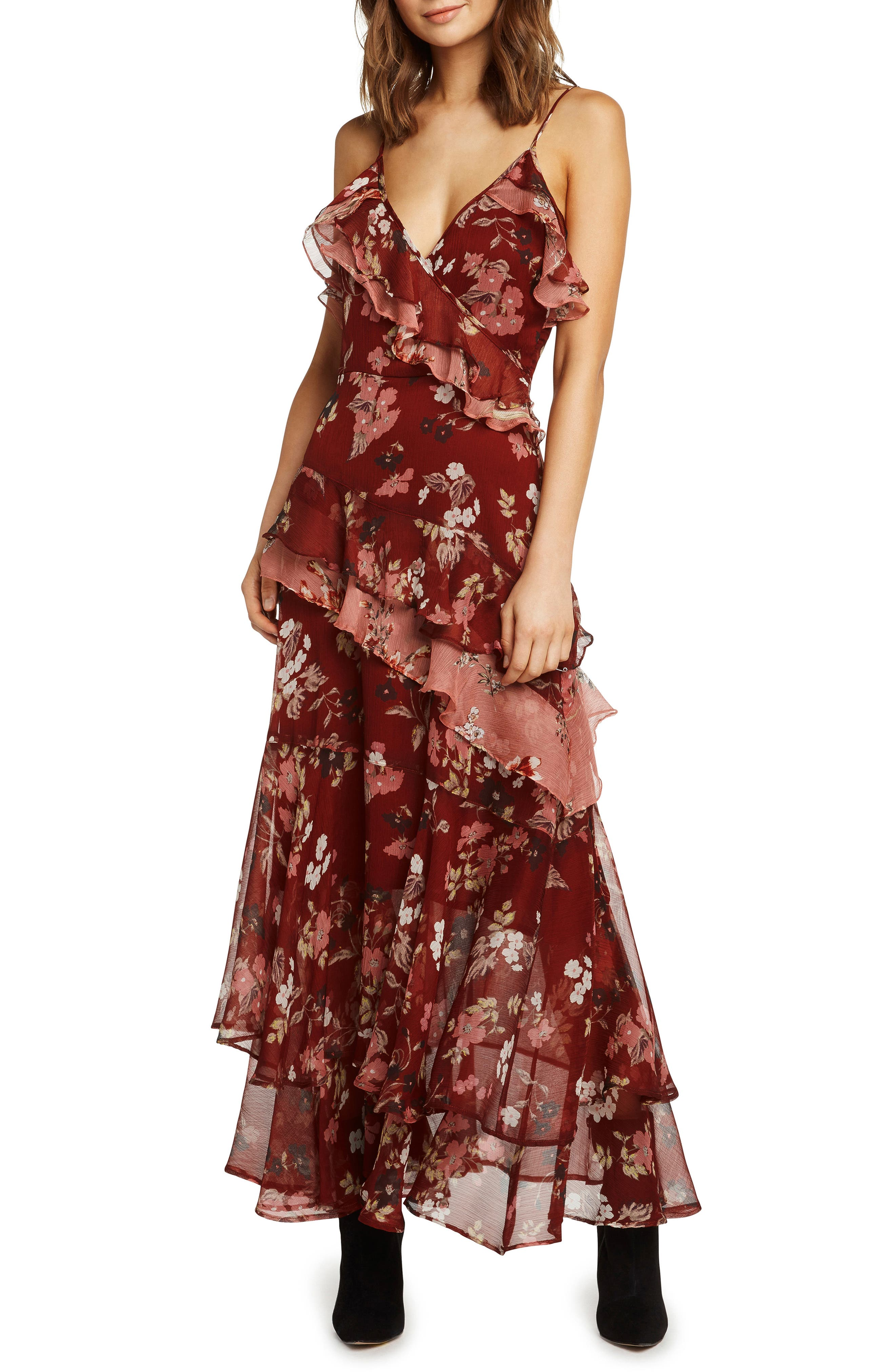 Tiered Ruffle Maxi Dress,                         Main,                         color, RUST