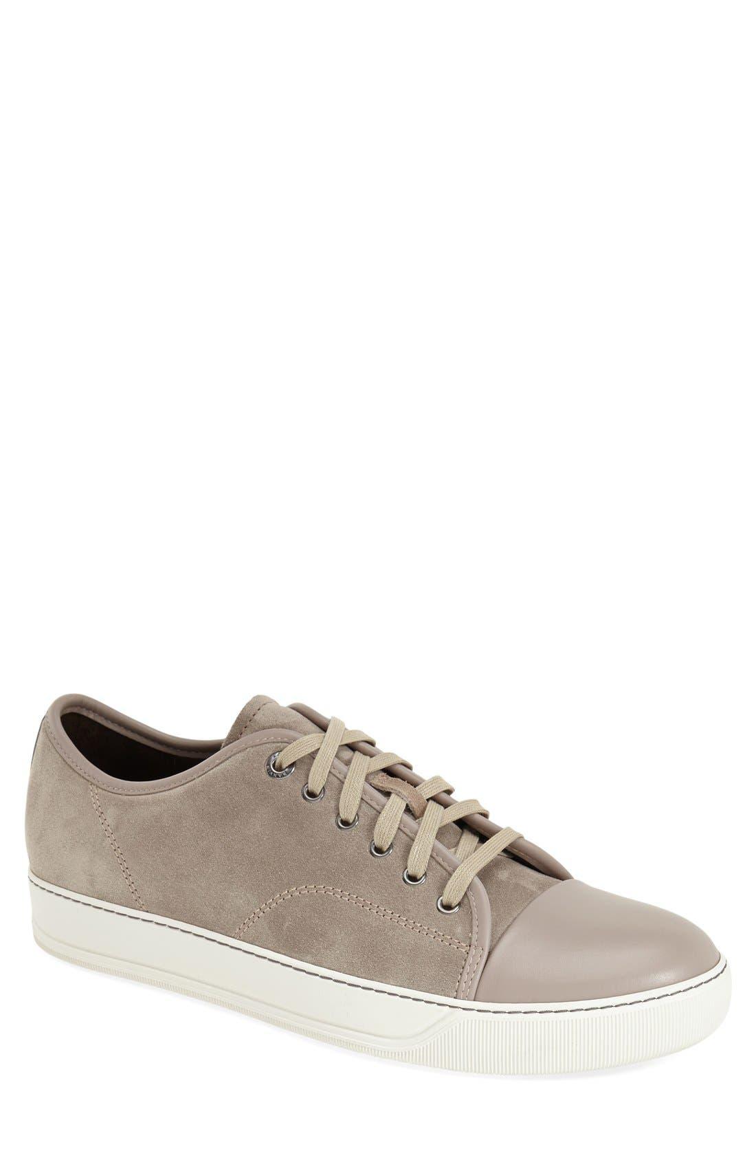 Low Top Sneaker,                             Main thumbnail 1, color,                             BEIGE SUEDE