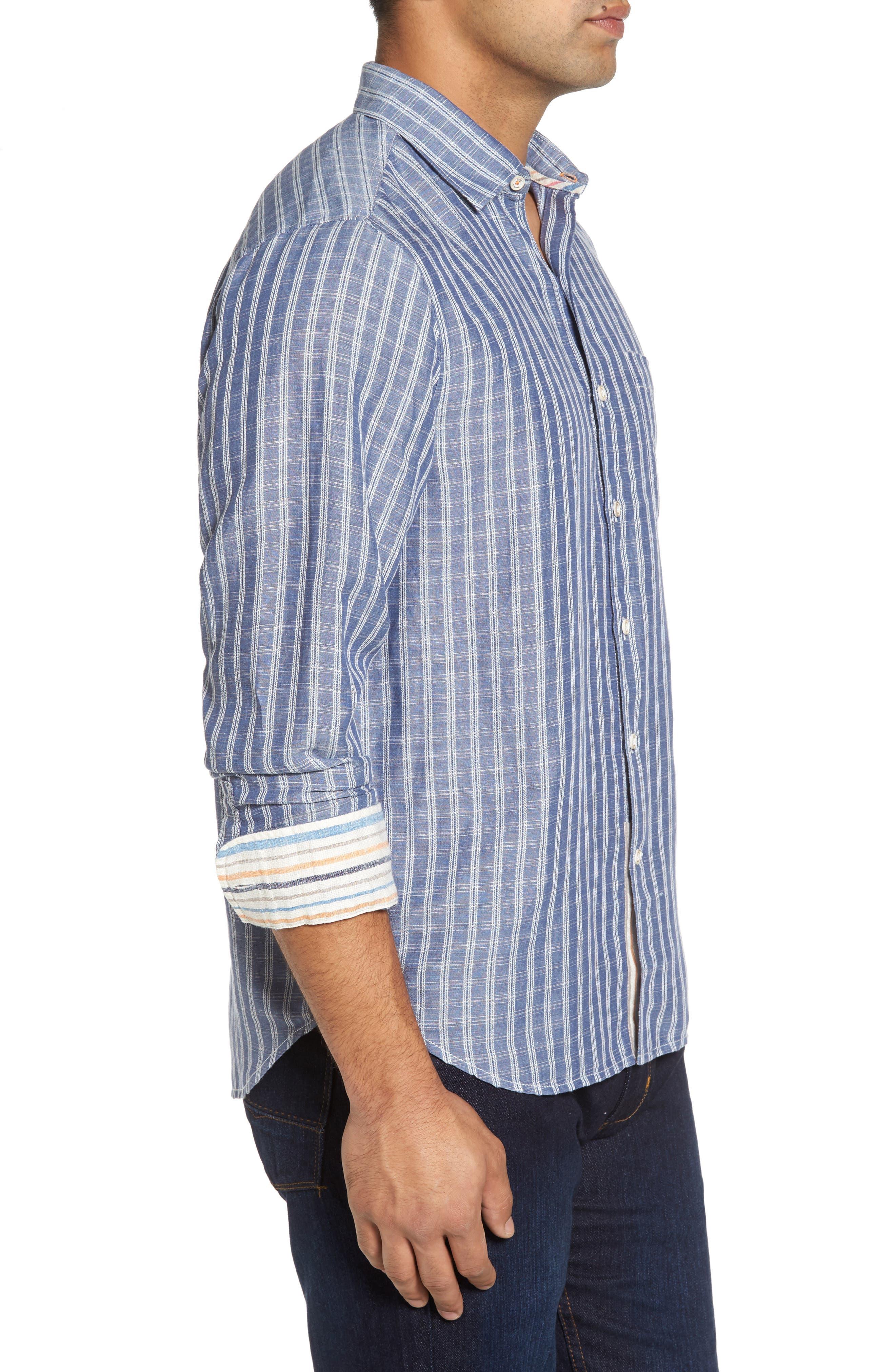 Plaid Sand Linen Blend Sport Shirt,                             Alternate thumbnail 8, color,