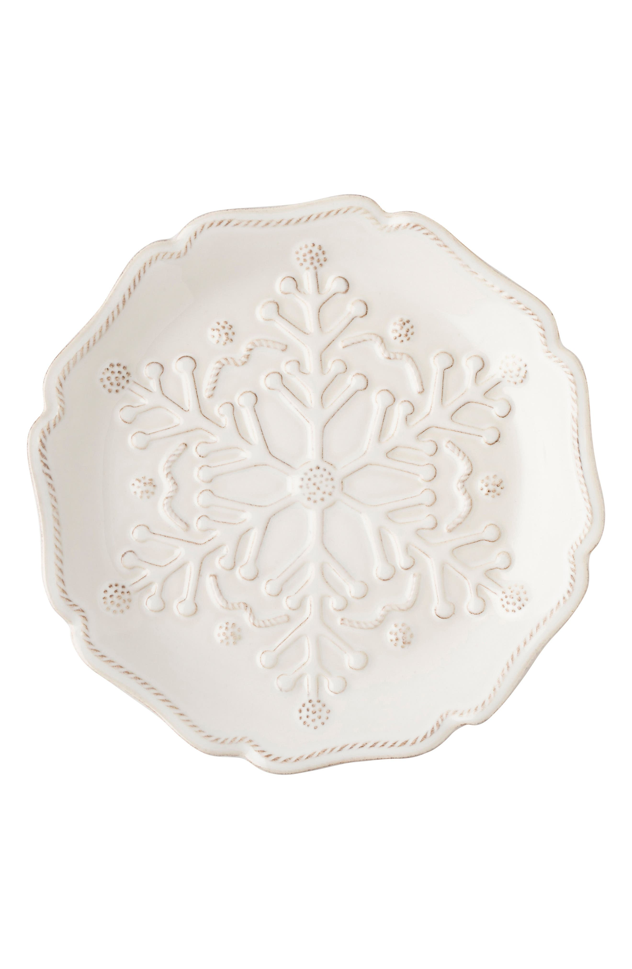 Snowfall Whitewash Set of 4 Ceramic Tidbit Plates,                             Alternate thumbnail 2, color,                             100