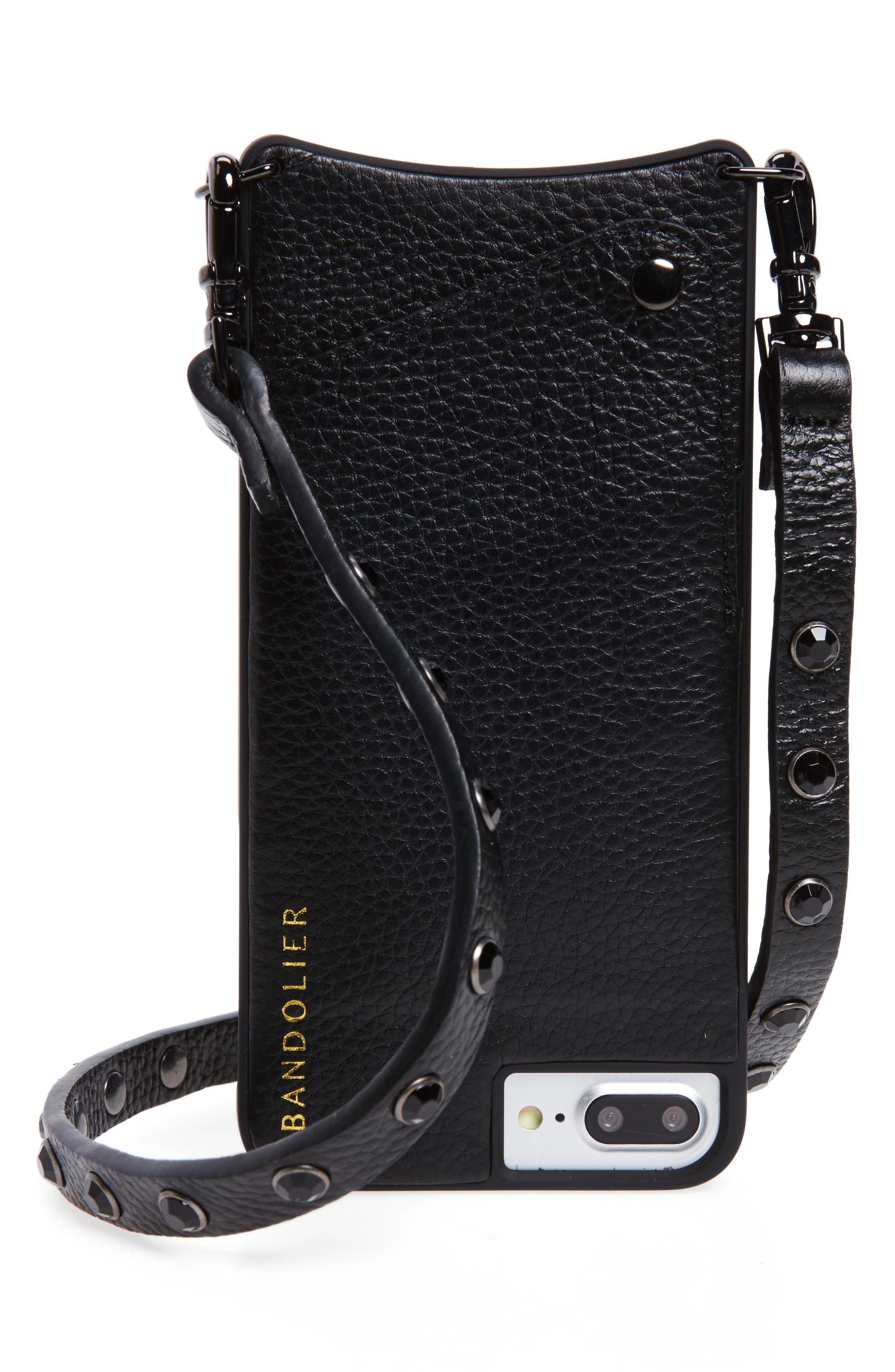 Jules Leather iPhone 6/7/8 & 6/7/8 Plus Crossbody Case,                         Main,                         color, 001