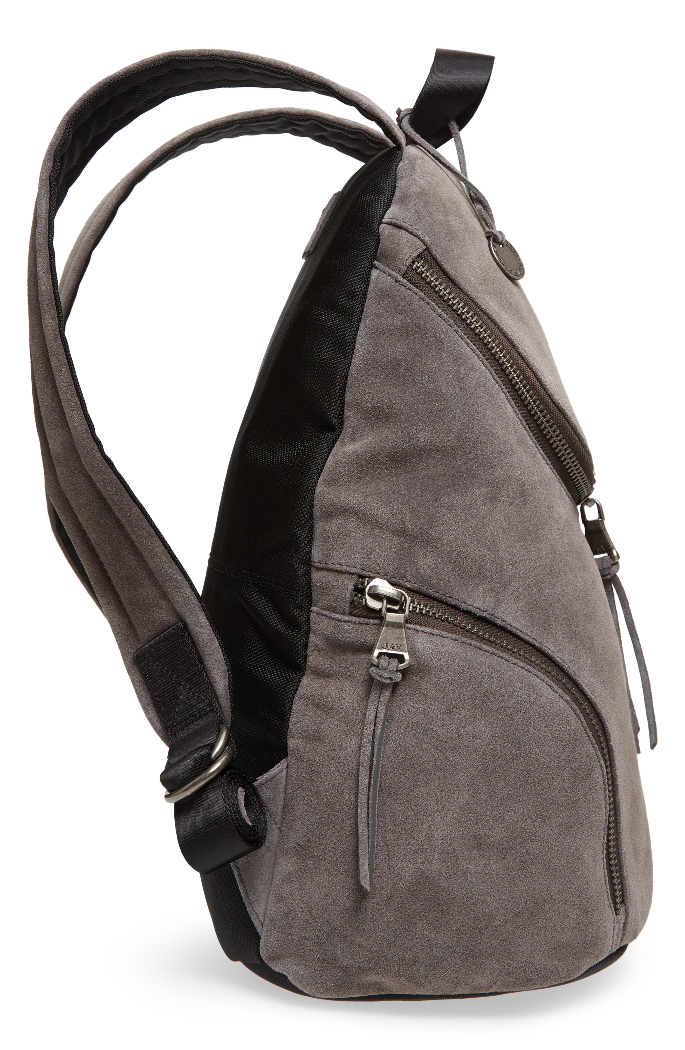 Brooklyn Suede Backpack,                             Alternate thumbnail 5, color,                             LEAD