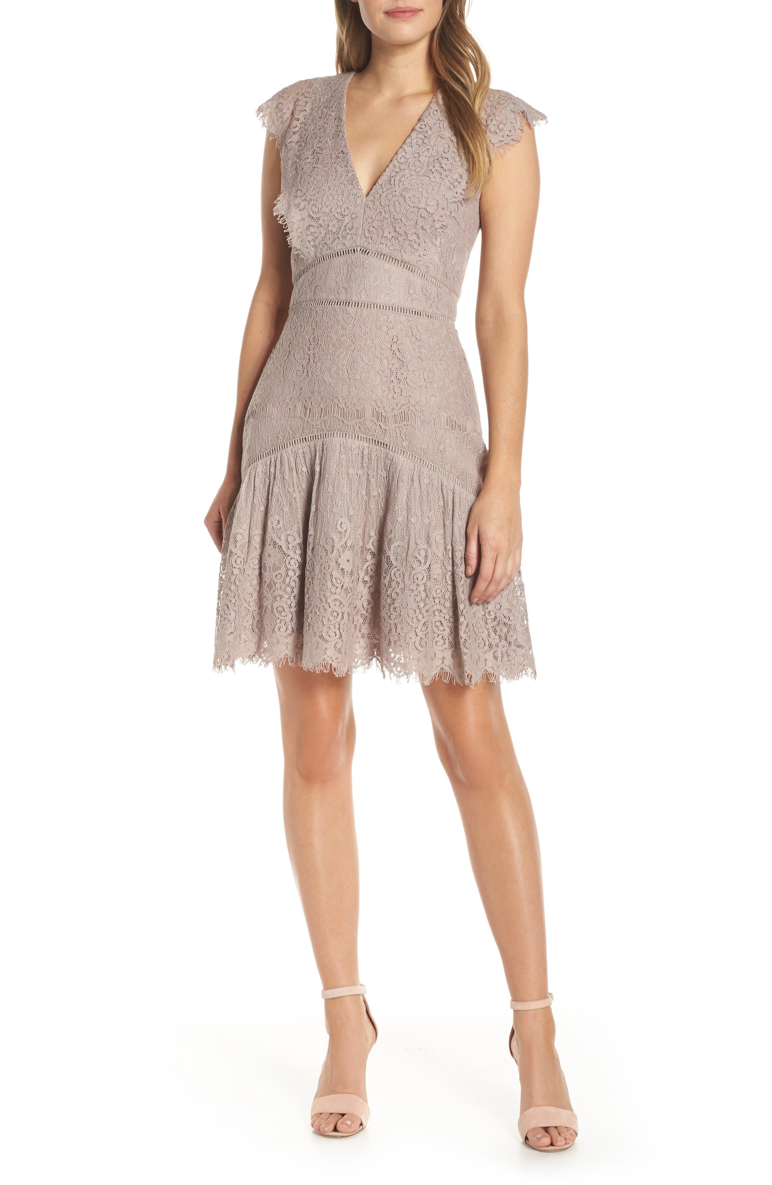 Adelyn Rae Shel Cap Sleeve Eyelash Lace Dress, Pink