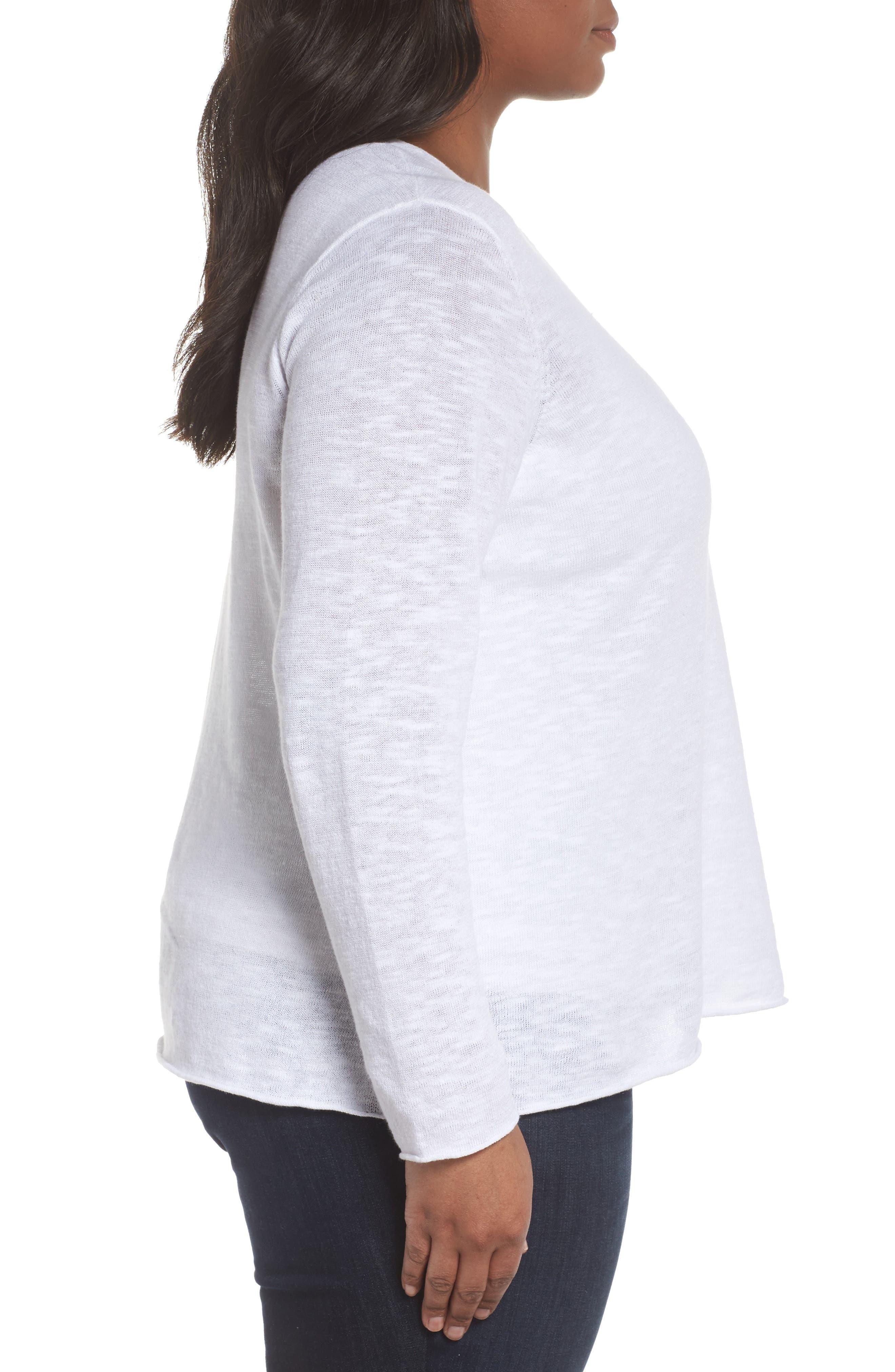 Boxy Organic Linen & Cotton Sweater,                             Alternate thumbnail 3, color,                             100