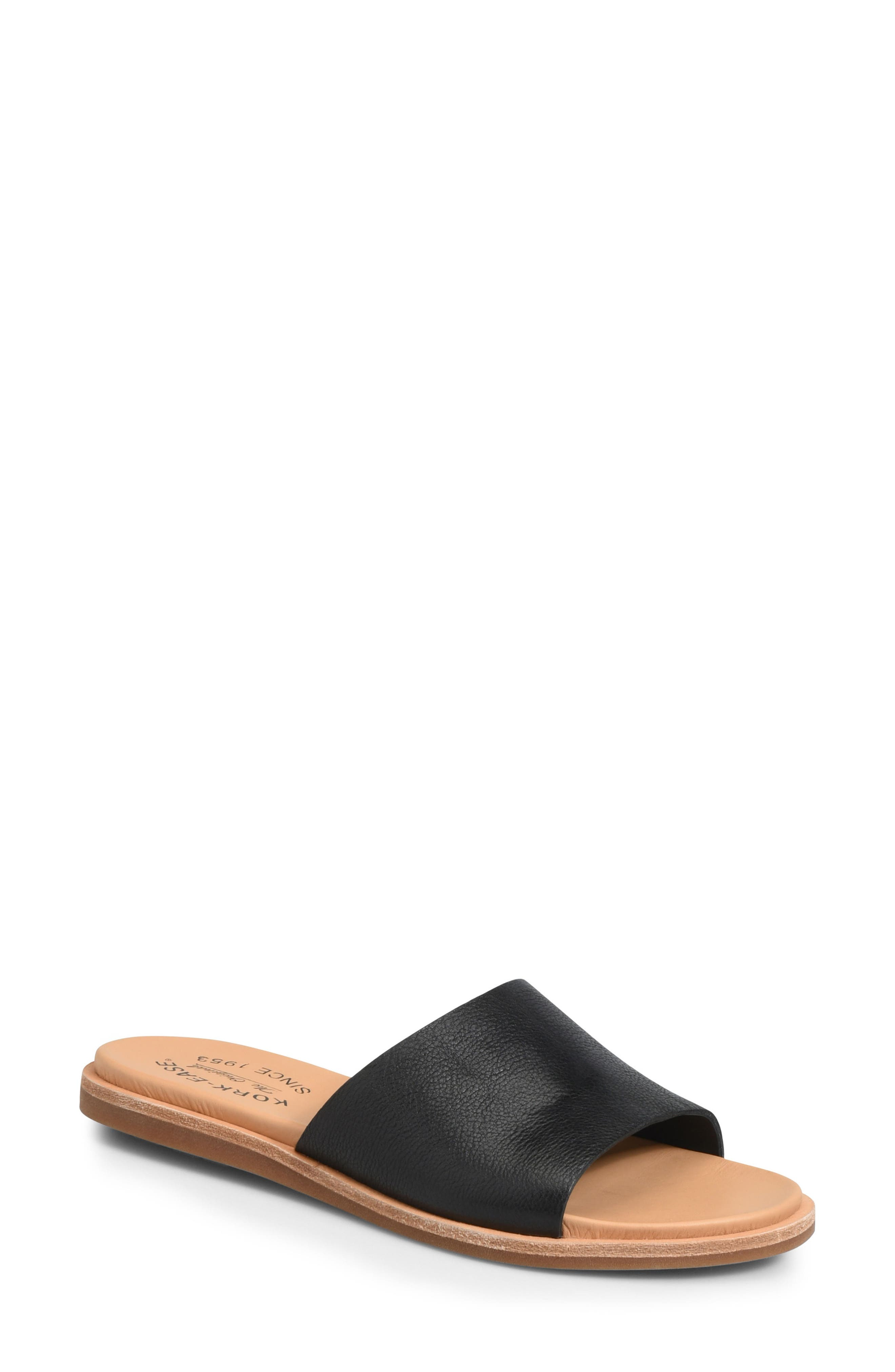 Gila Slide Sandal,                             Main thumbnail 1, color,                             BLACK LEATHER