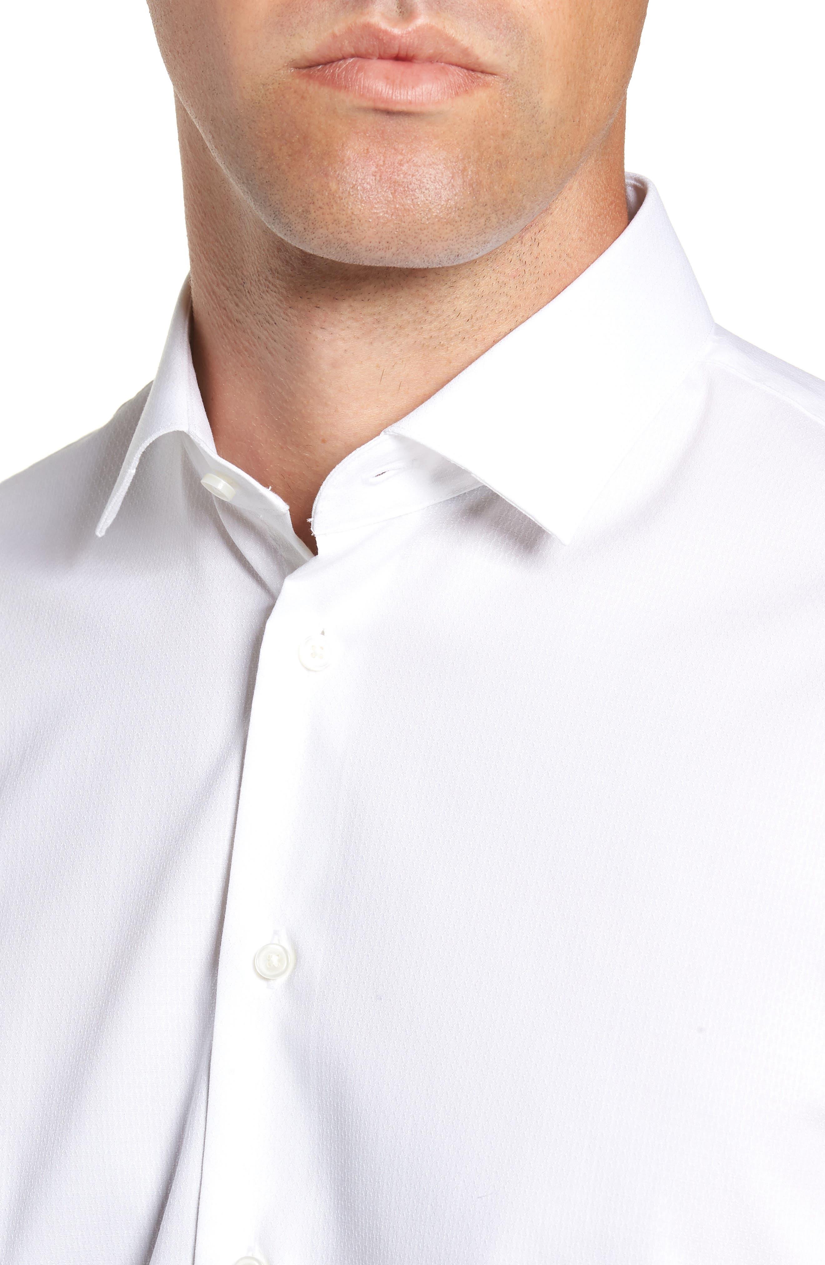 Trim Fit Stretch Solid Dress Shirt,                             Alternate thumbnail 2, color,                             WHITE