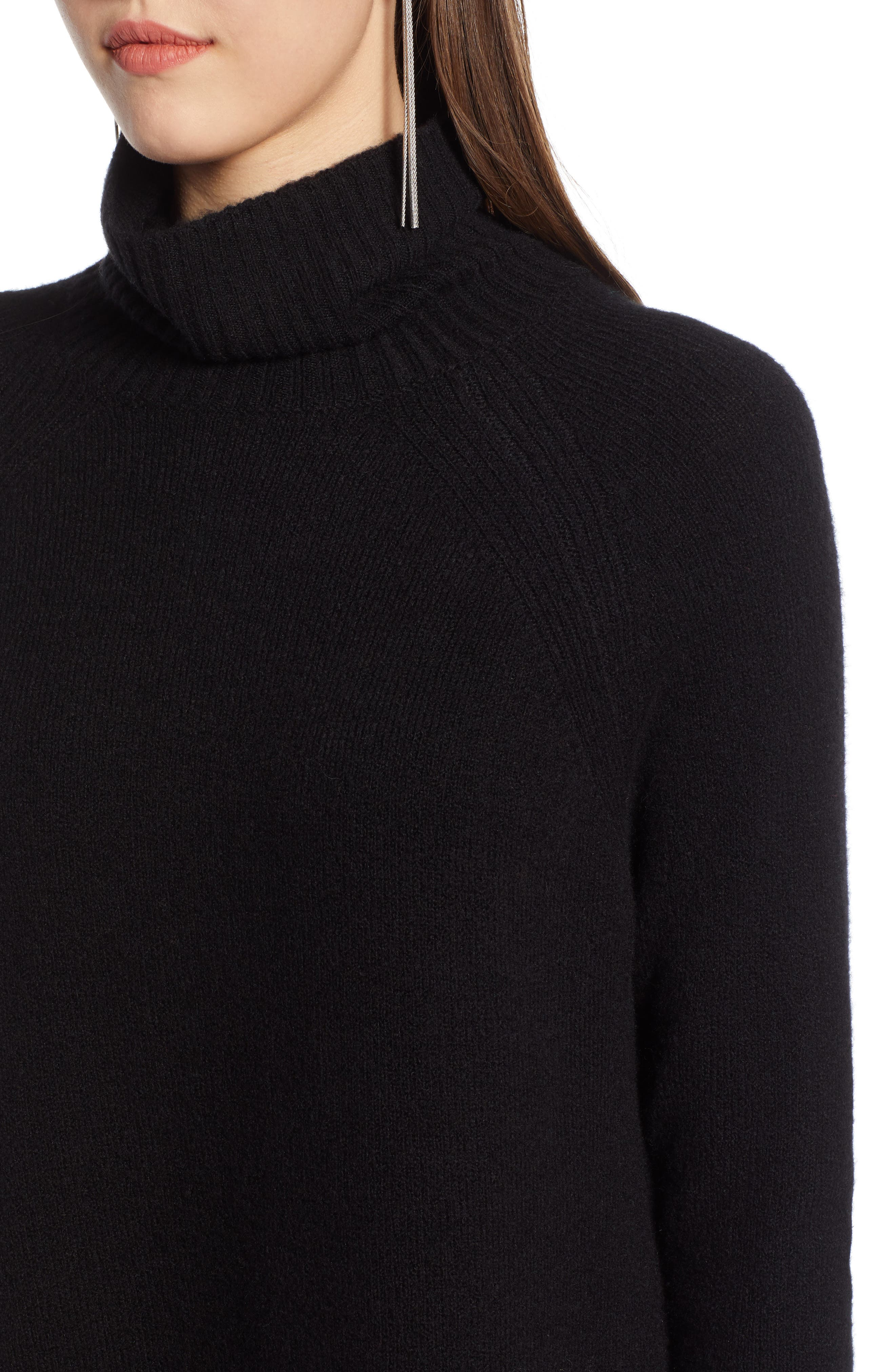 High Low Oversize Wool Blend Sweater,                             Alternate thumbnail 5, color,                             BLACK