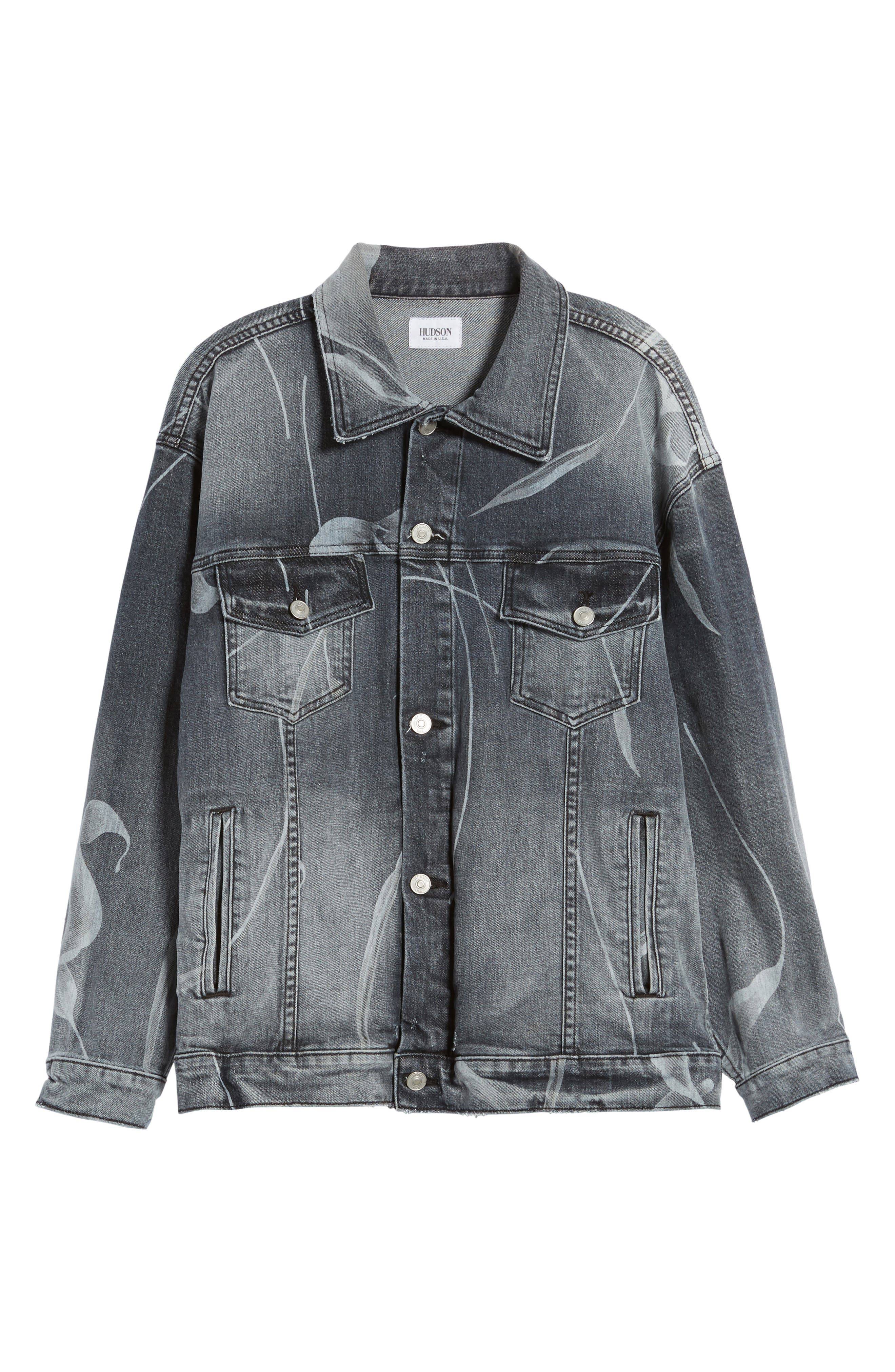 New Boyfriend Denim Trucker Jacket,                             Alternate thumbnail 5, color,                             001